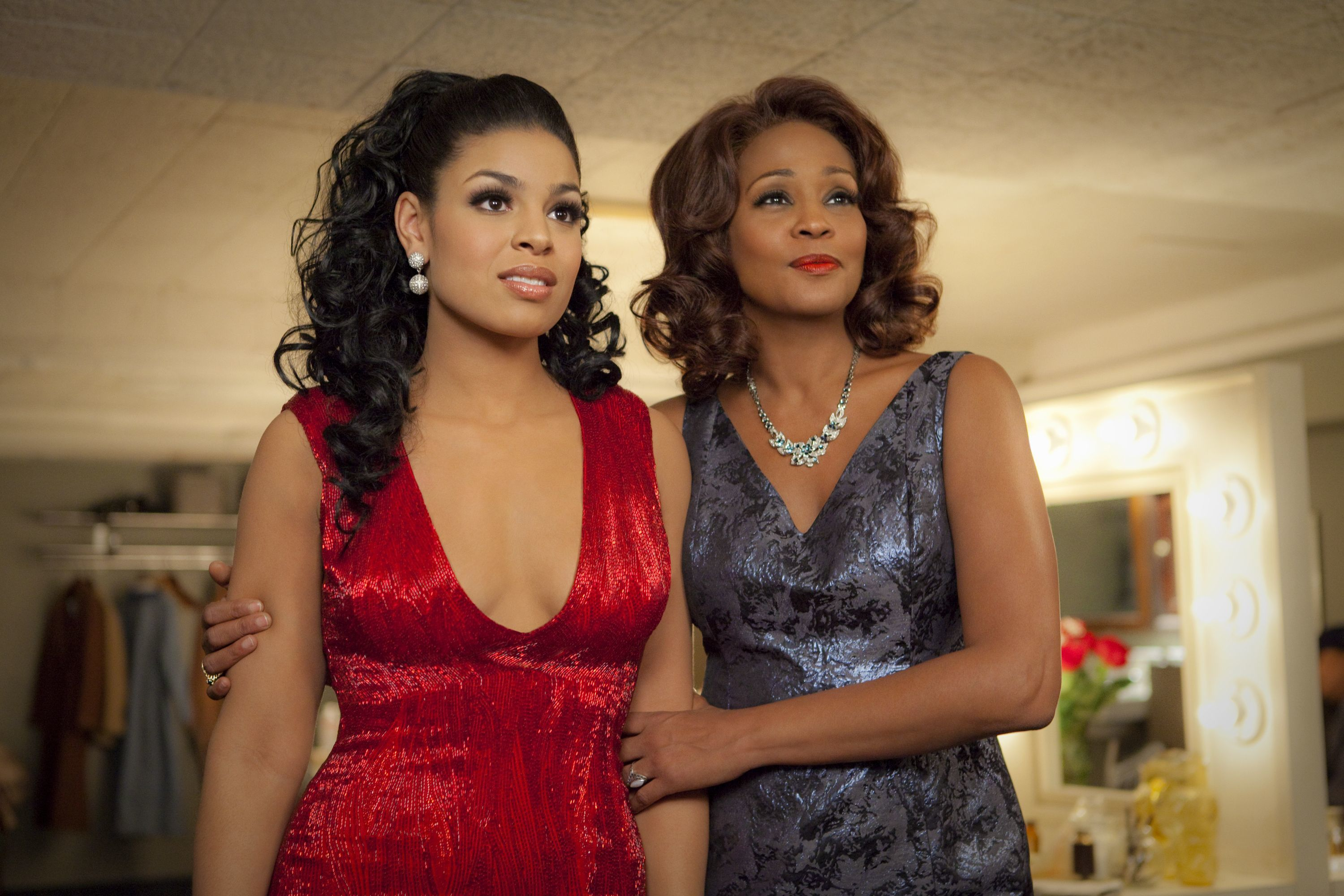 """Jordin Sparks and Whitney Houston are shown on the set of """"Sparkle"""" in 2012."""