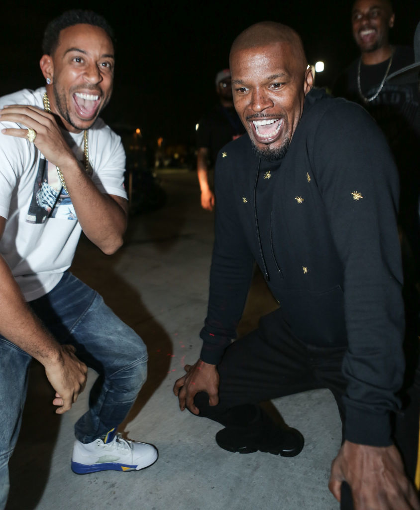 Ludacris and Jamie Foxx appear backstage at The Topgolf concert on the green at Topgolf Miami Gardens on June 29, 2018.