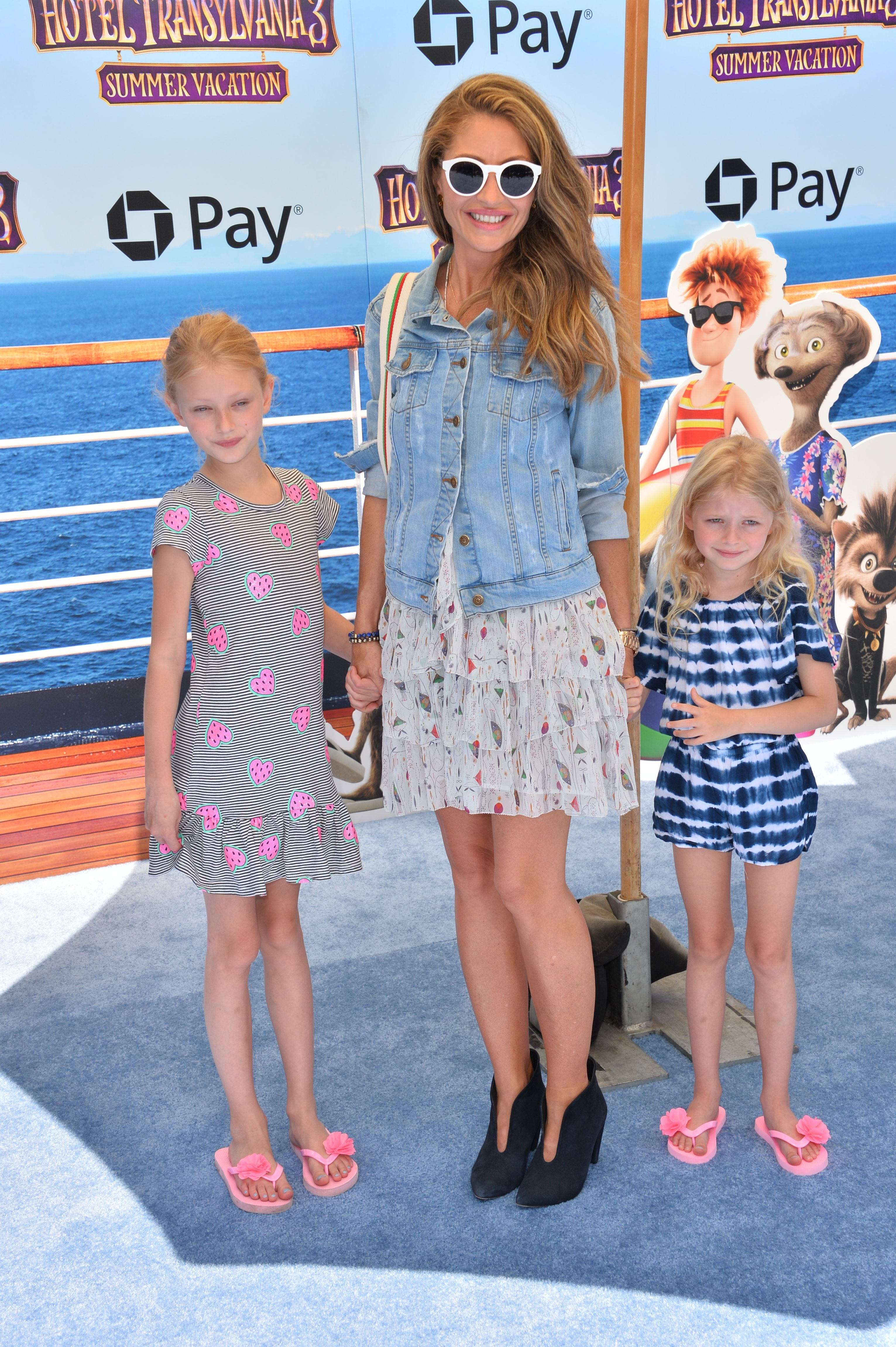 """Rebecca Gayheart posed with with her adorable daughters, Billie and Georgia Dane, at the premiere of """"Hotel Transylvania 3: Summer Vacation"""" in Los Angeles on June 30, 2018."""