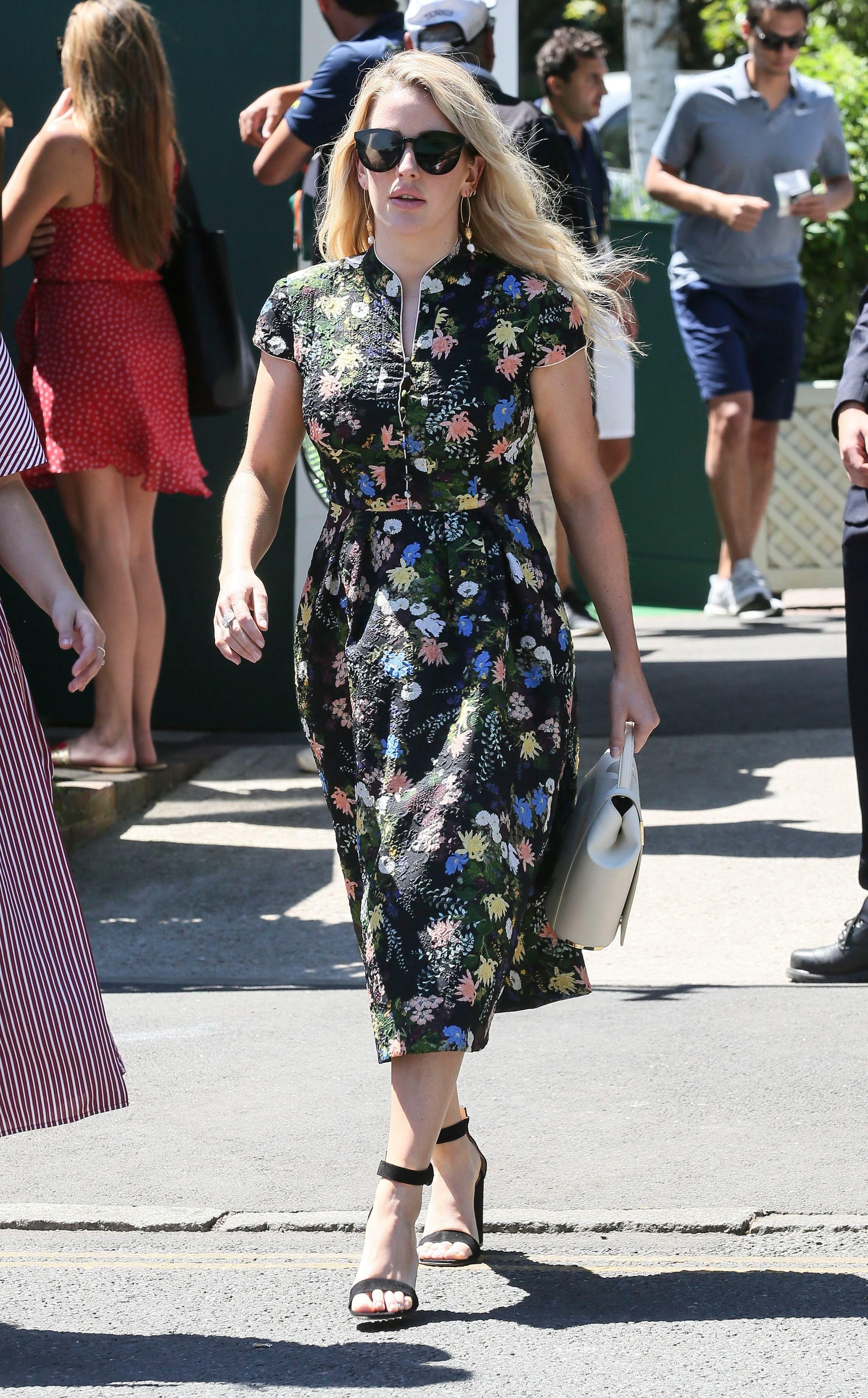 Ellie Goulding arrives at Wimbledon in London on July 2, 2018.