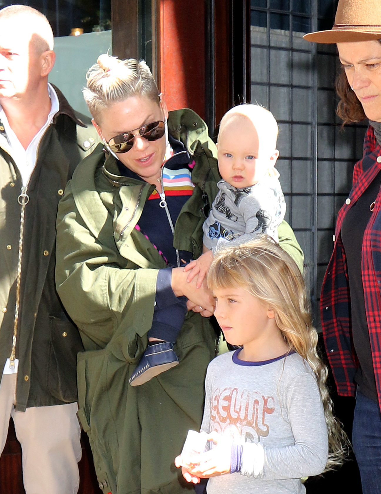 Pink, Jameson Moon Hart and Willow Sage Hart in New York City on Oct. 17, 2017.