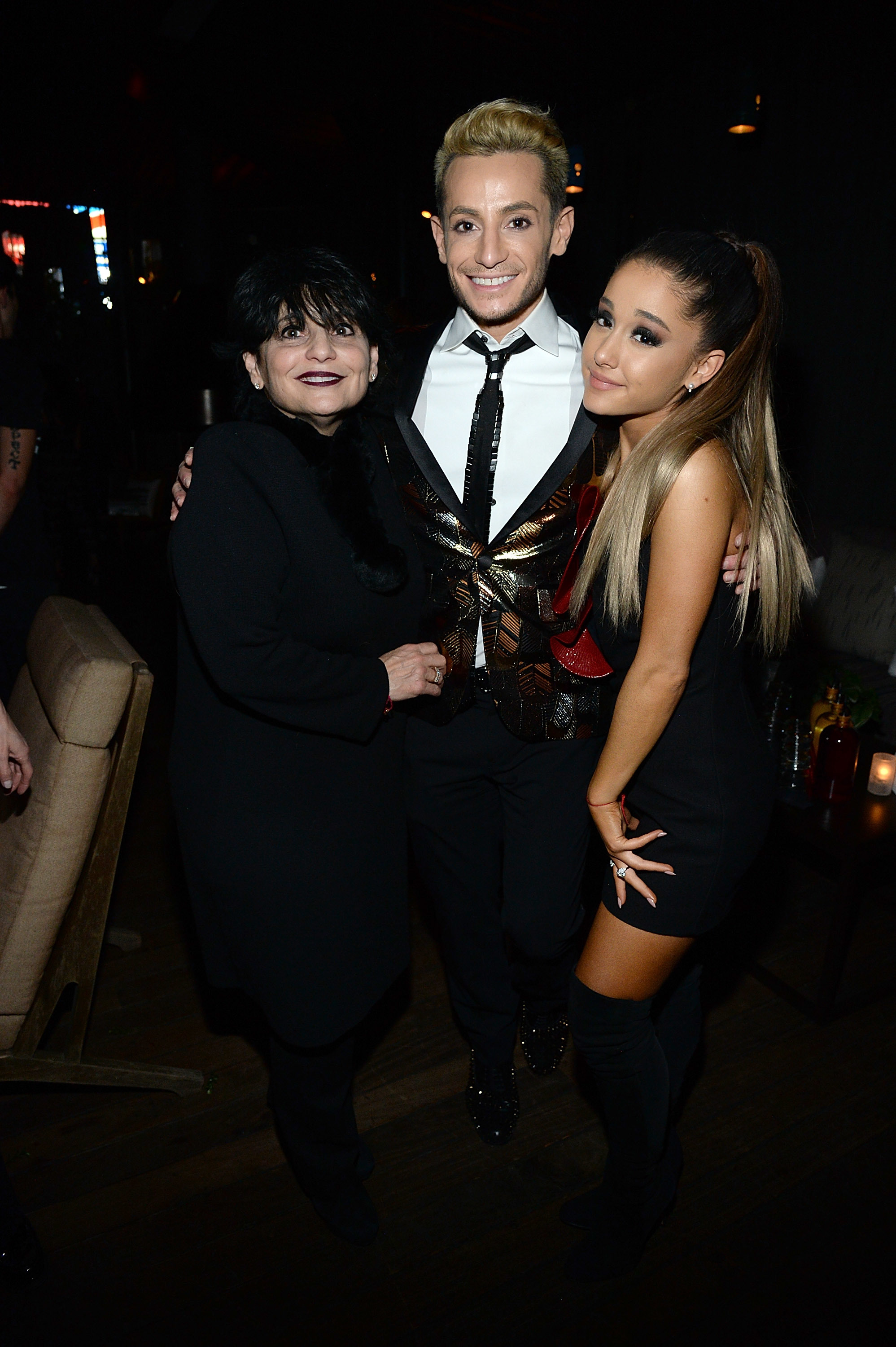 Joan Grande, Frankie Grande and Ariana Grande attend the Republic Records Grammy celebration at Hyde on Sunset in Los Angeles on Feb. 15, 2016.