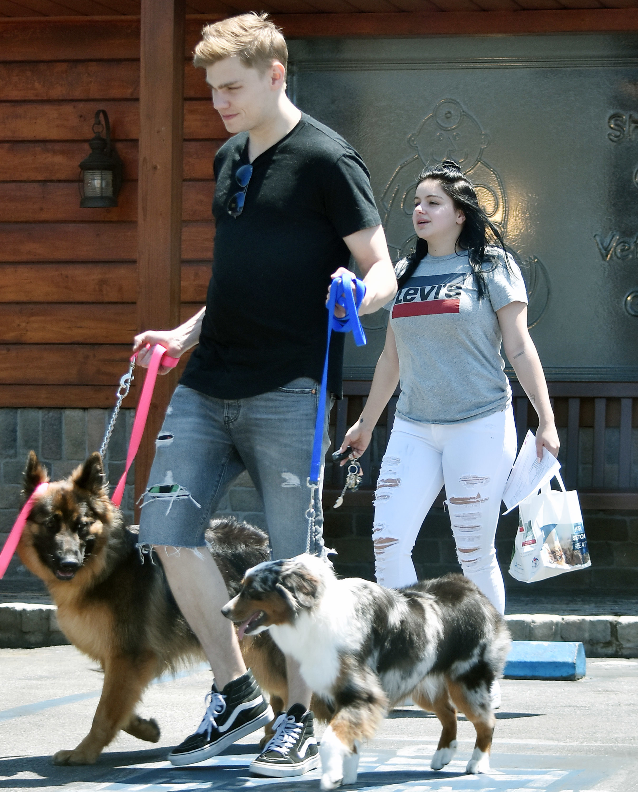 Ariel Winter and Levi Meaden took their dogs for a walk in Los Angeles on July 2, 2018.