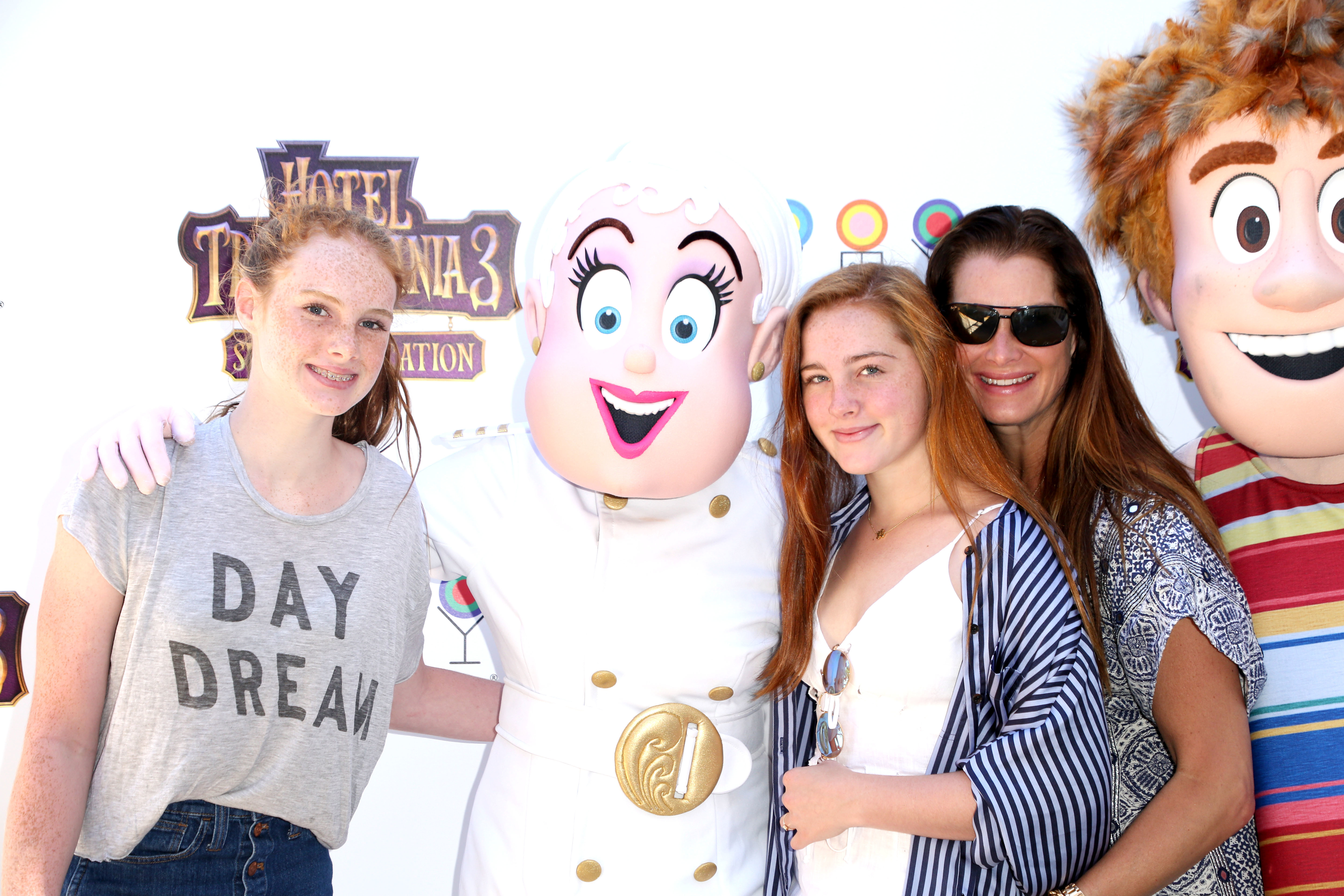 """Grier Henchy, Rowan Henchy, and Brooke Shields attend the """"Hotel Transylvania 3: Summer Vacation"""" Special Screening in East Hampton, New York, on July 8, 2018."""