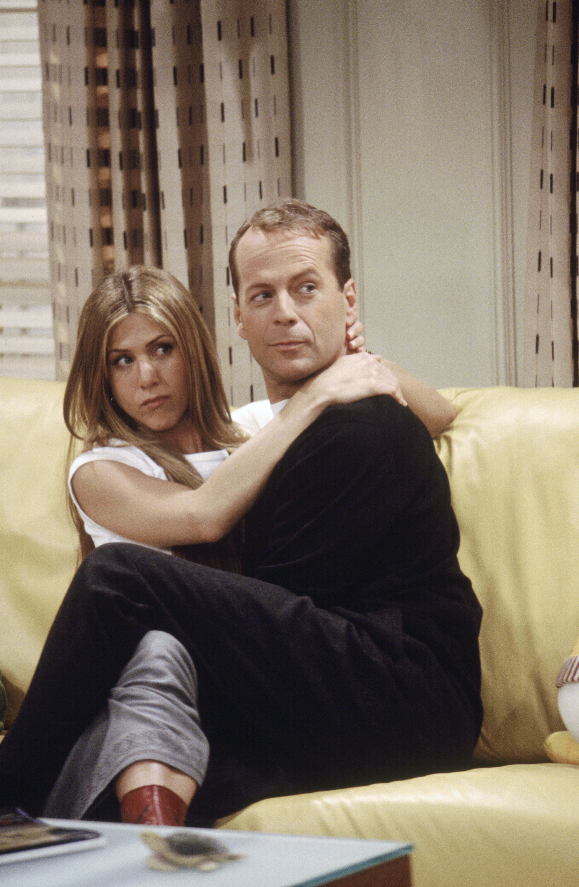 "Jennifer Aniston and Bruce Willis starred on a 2000 episode of NBC's ""Friends"" titled ""The One Where Ross Meets Elizabeth's Dad."""