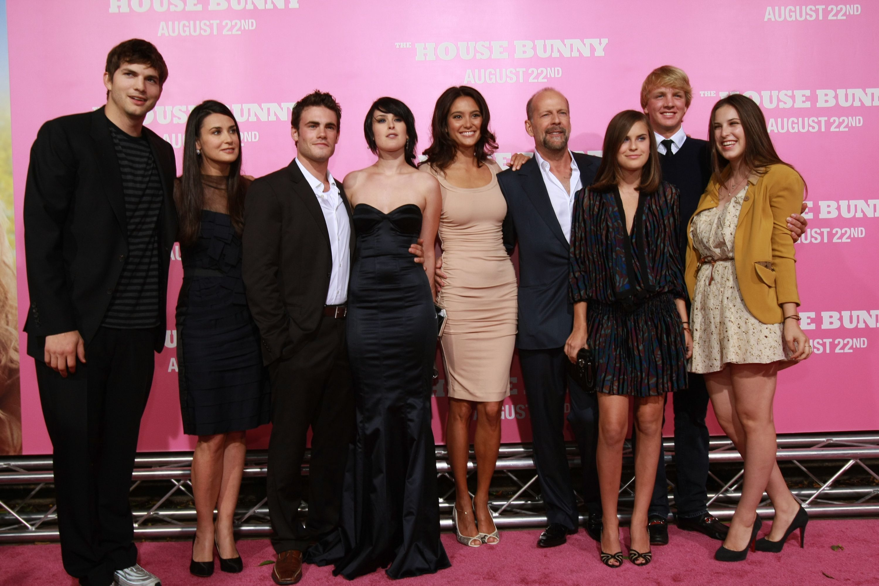 """Ashton Kutcher, Demi Moore, Michah Alberti, Rumer Willis, Emma Heming, Bruce Willis, Tallulah Willis, Scout Willis and a blonde male friend attend the premiere of  """"The House Bunny"""" at the Mann Village Theatre in Los Angeles on Aug. 20, 2008."""