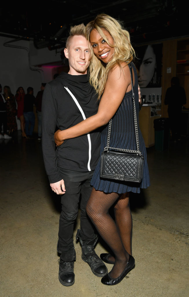 Kyle Draper and Laverne Cox attend the MAC Cosmetics Aaliyah collection launch party in Los Angeles on June 14, 2018.