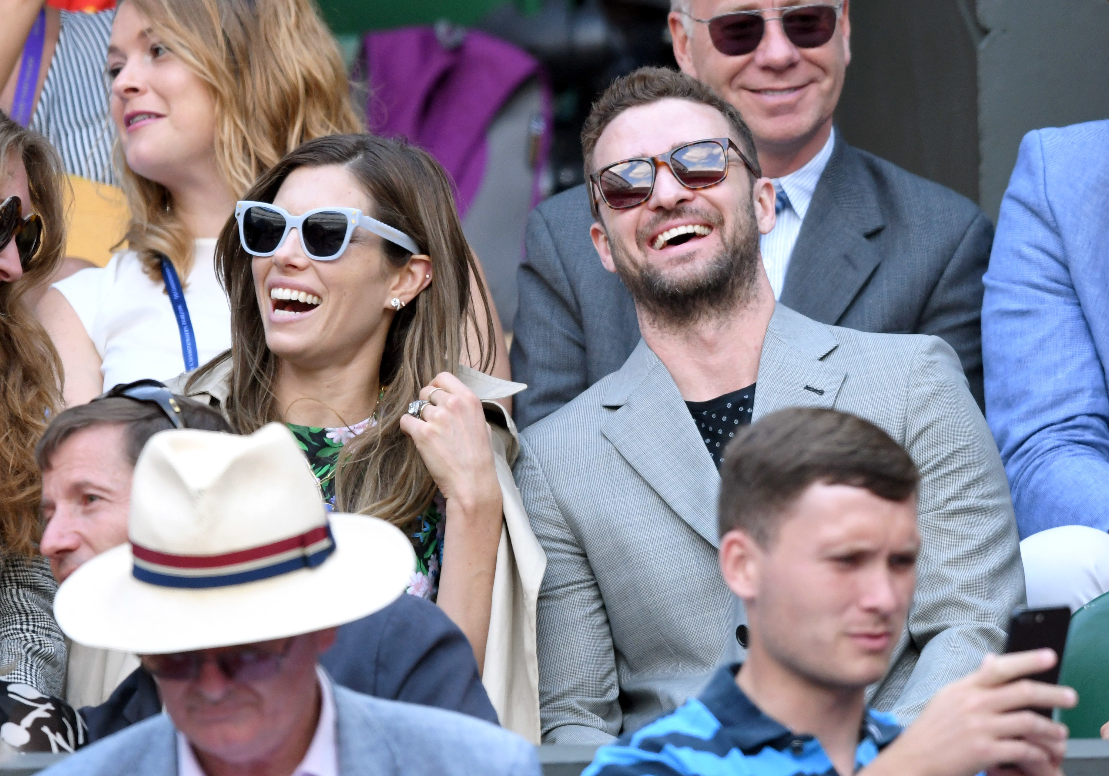 Jessica Biel and Justin Timberlake attend day eight of the Wimbledon Tennis Championships at the All England Lawn Tennis and Croquet Club in London on July 10, 2018.