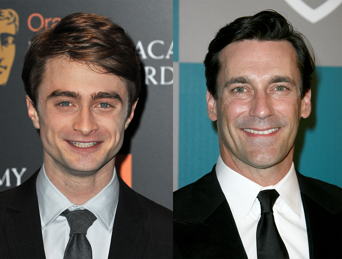 Daniel Radcliffe attends the BAFTA Film Awards Nominations in London on Jan. 17, 2012. / Jon Hamm attends The 69th Annual Golden Globe Awards in Los Angeles on Jan. 15, 2012.