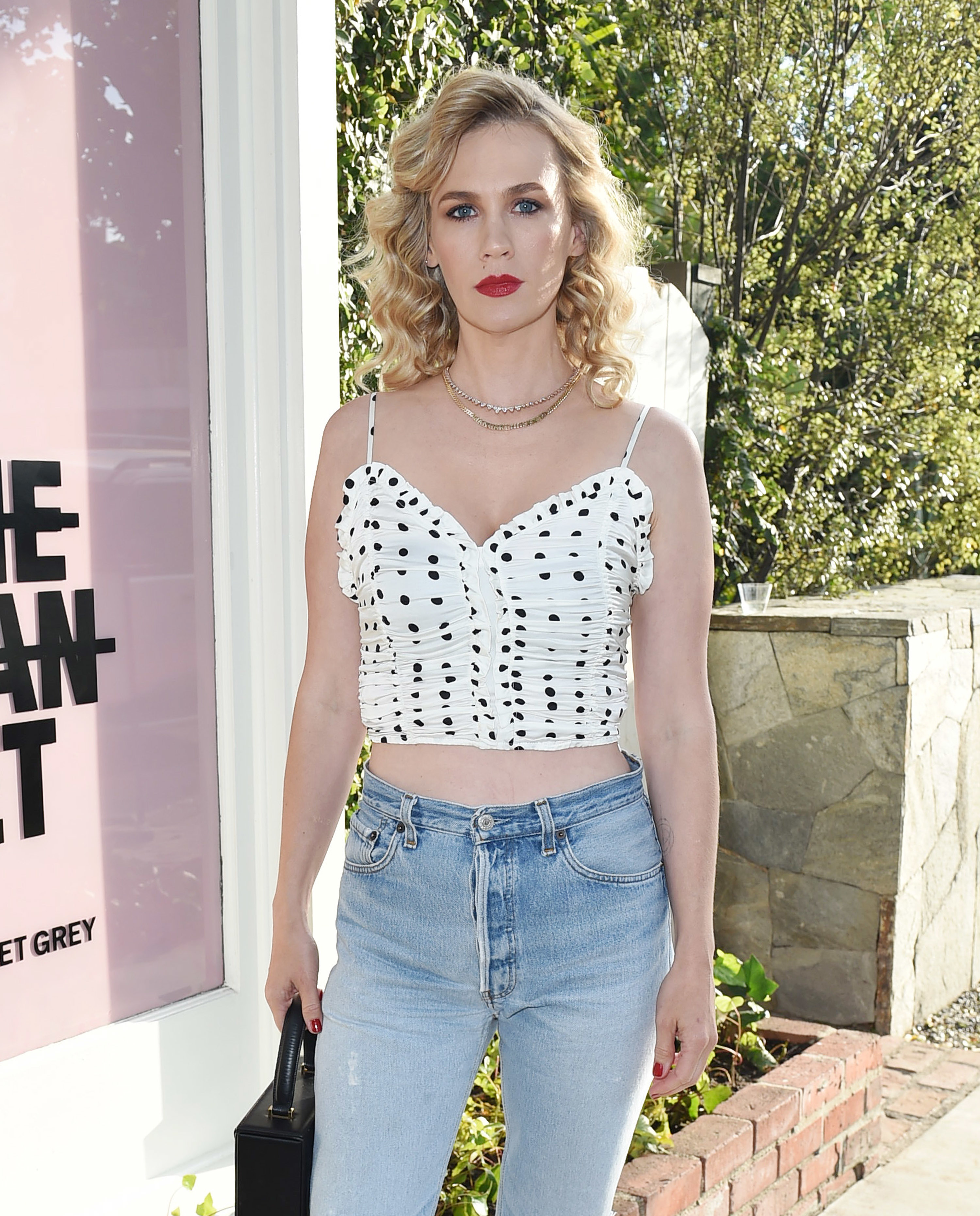 January Jones attends the Violet Grey event in Los Angeles on July 11, 2018.
