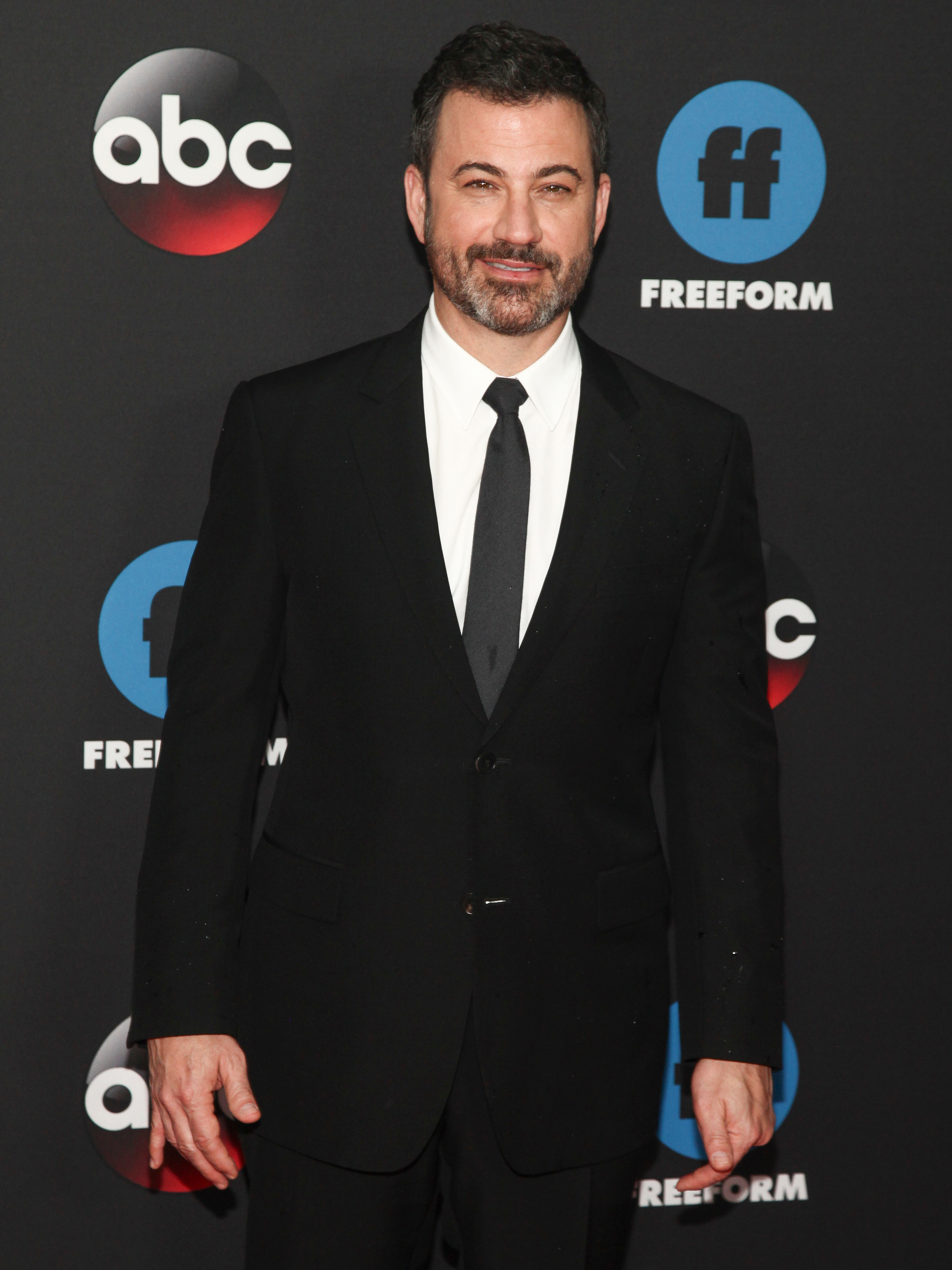 Jimmy Kimmel appears at the 2018 Disney/ABC/Freeform Upfront Red Carpet in New York City on May 15, 2018.