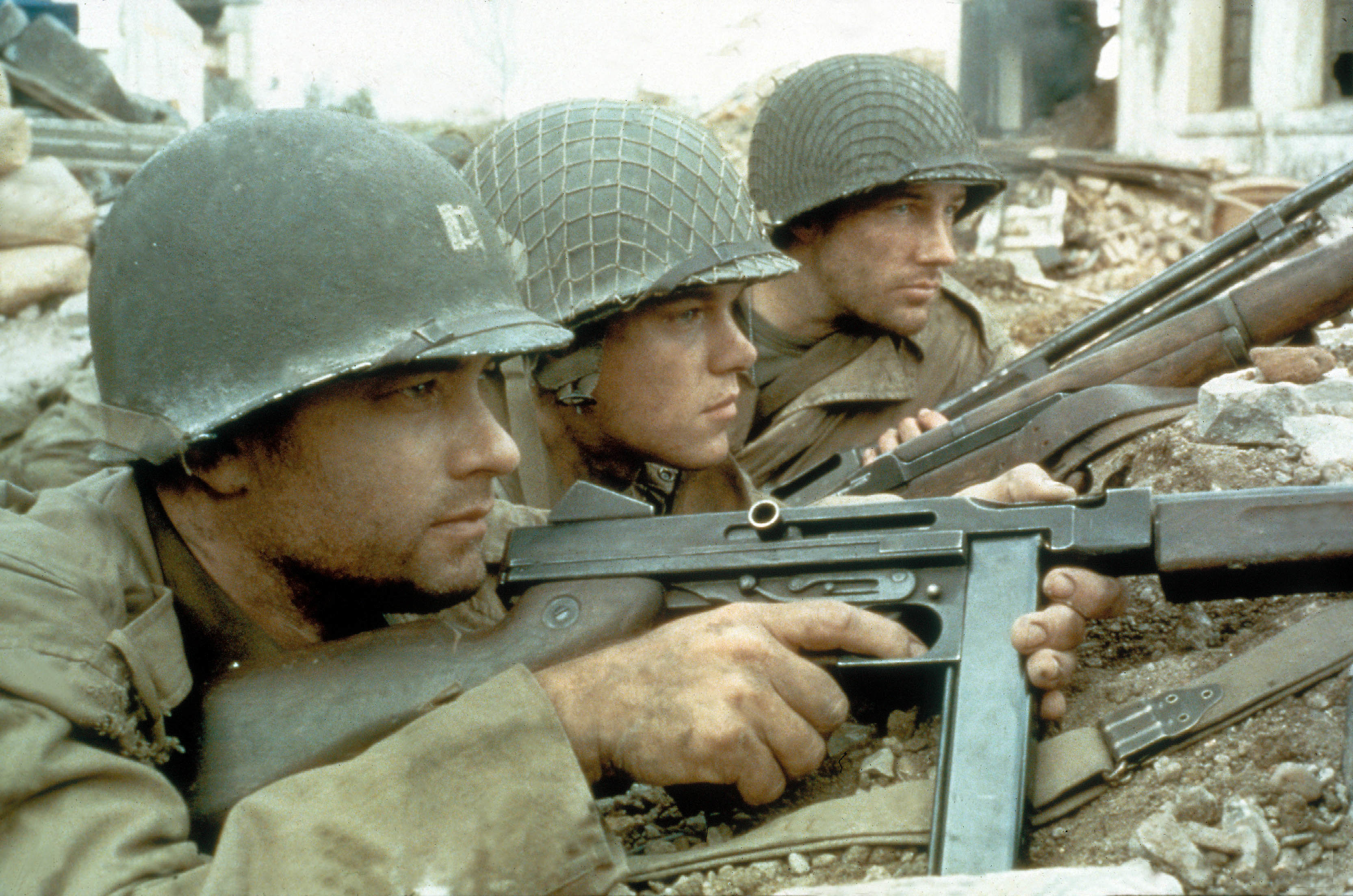 "Tom Hanks,  Matt Damon and Edward Burns starred in 1998's ""Saving Private Ryan."""
