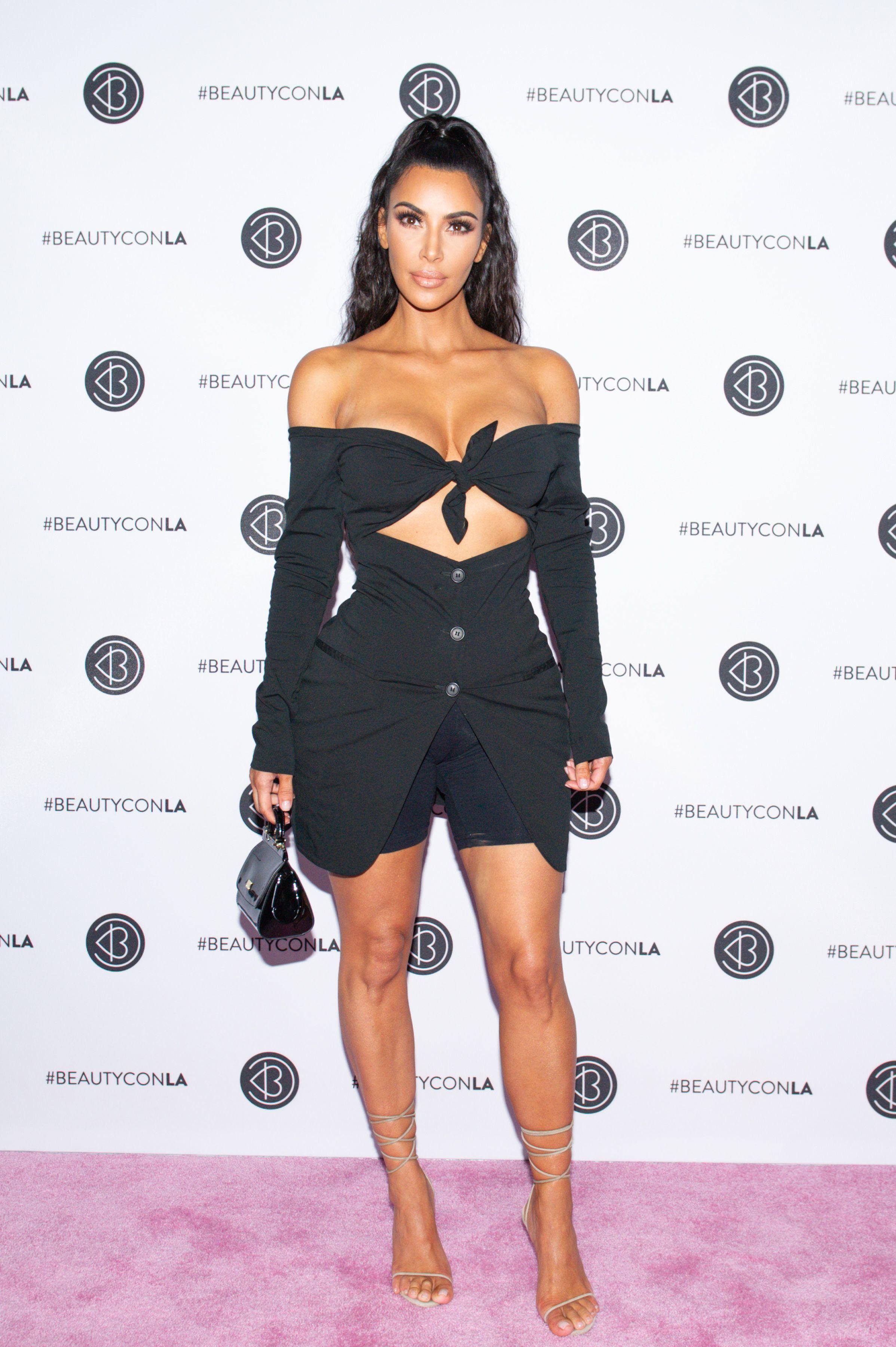 Kim Kardashian West attends the Beautycon Festival in Los Angeles on July 15, 2018.
