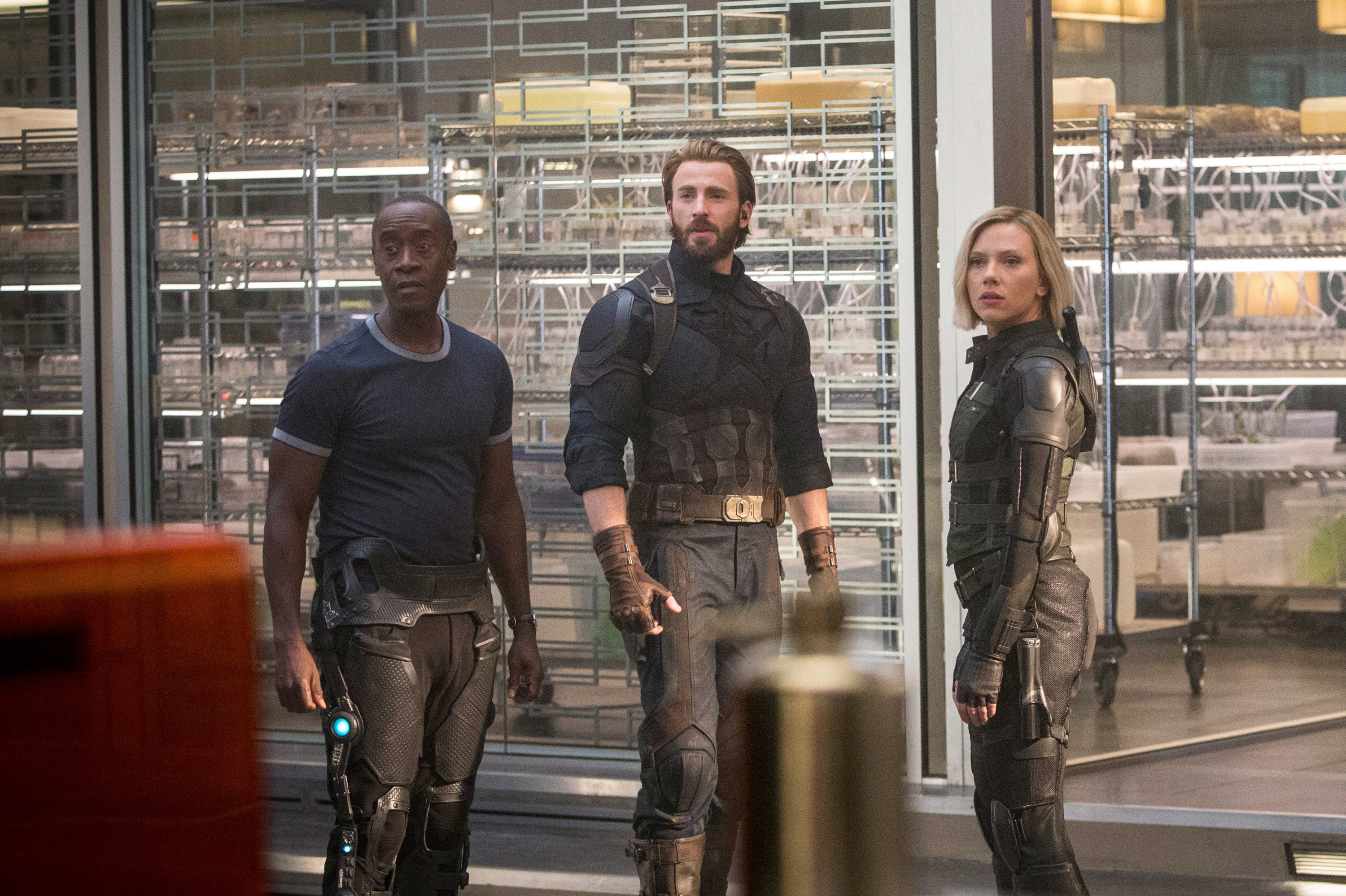 "Don Cheadle, Chris Evans and Scarlett Johansson in 2018's ""Avengers: Infinity War."""