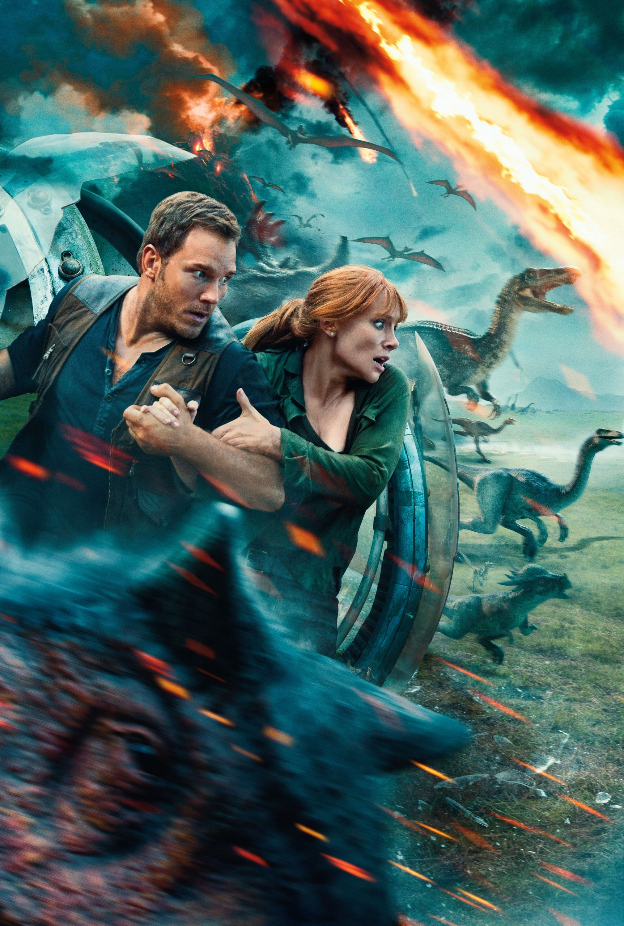 "Chris Pratt and Bryce Dallas Howard star in 2018's ""Jurassic World: Fallen Kingdom"""