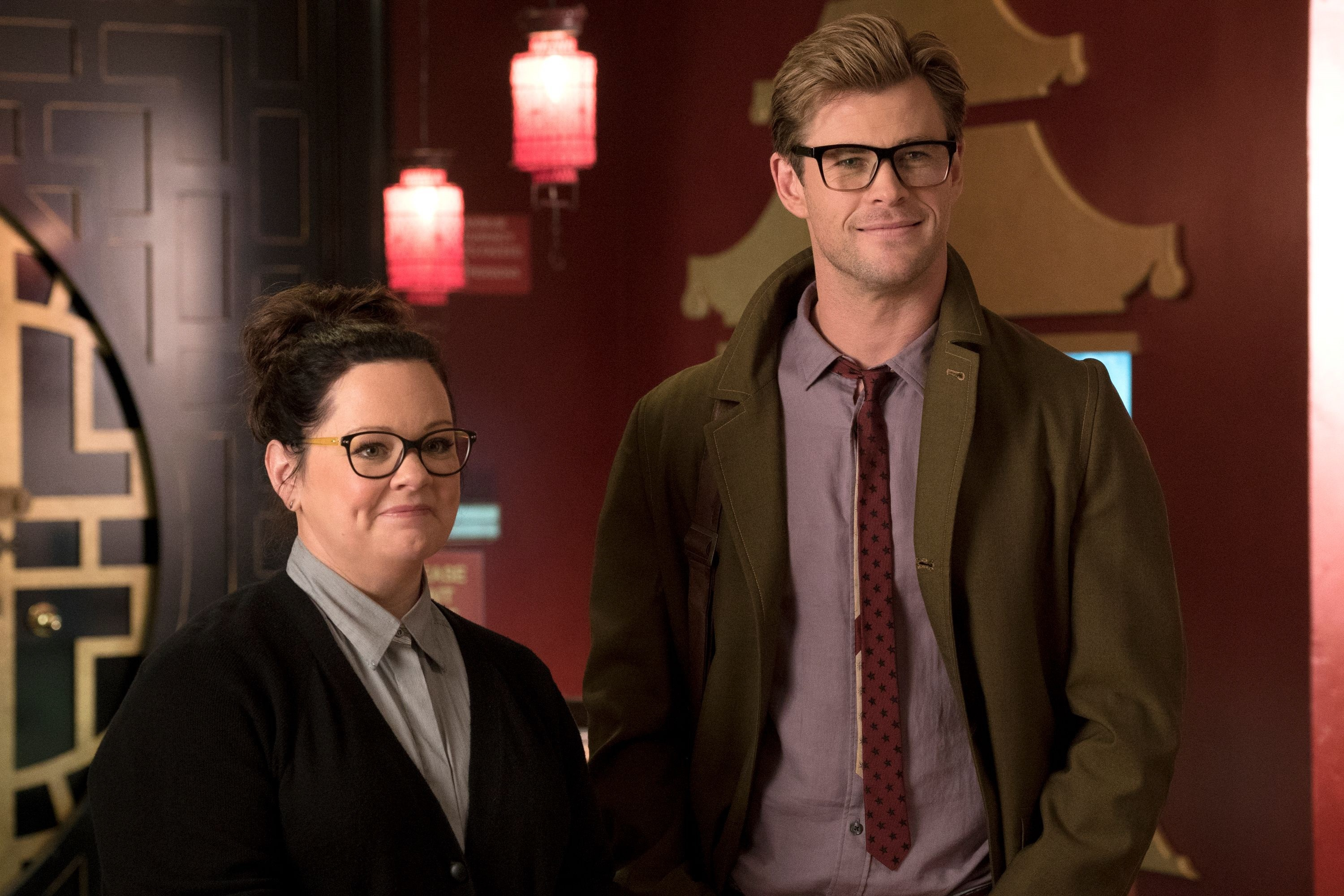 """Melissa McCarthy and Chris Hemsworth in 2016's """"Ghostbusters."""""""