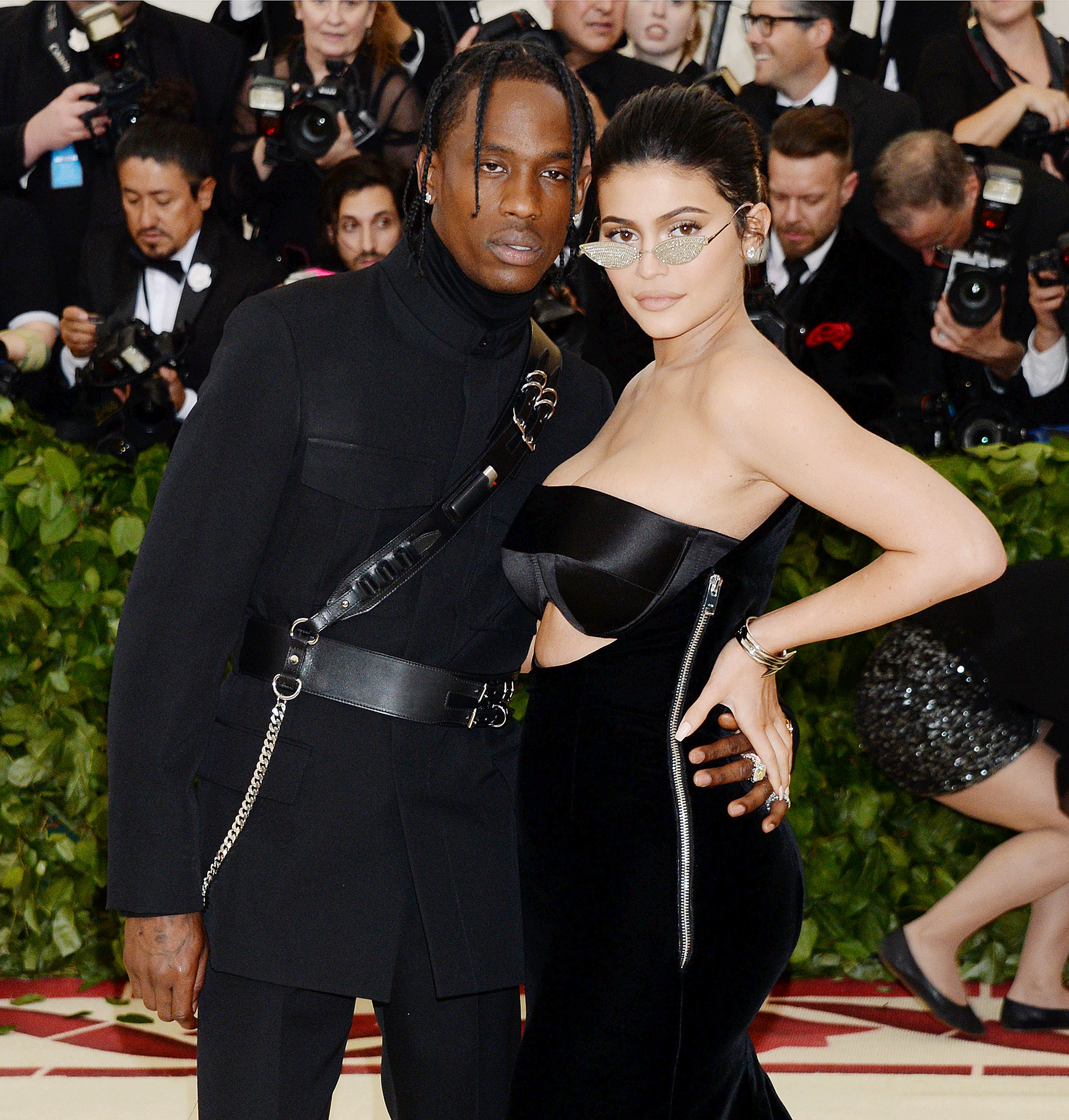 Kylie Jenner and Travis Scott attend the Metropolitan Museum of Art's Costume Institute Benefit celebrating the opening of Heavenly Bodies: Fashion and the Catholic Imagination in New York City on May 7, 2018.