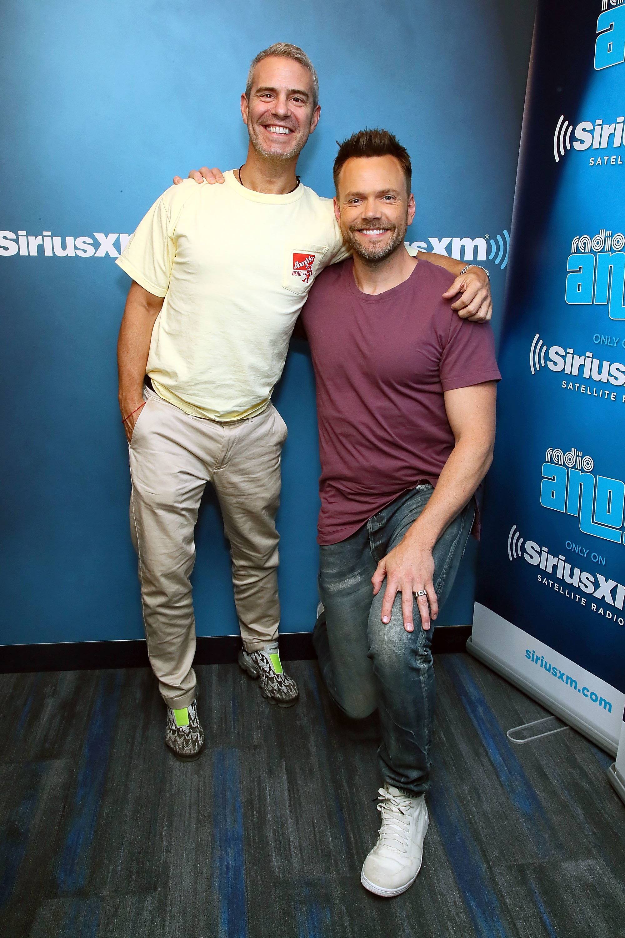 Andy Cohen and Joel McHale pose together during a visit to SiriusXM's 'Radio Andy' at the SiriusXM Studios in New York City on July 16, 2018.