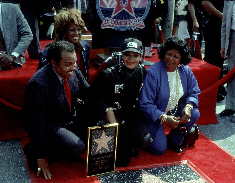 Joe Jackson, Janet Jackson and Katherine Jackson attend Janet's Hollywood Walk of Fame star ceremony on April 20, 1990.