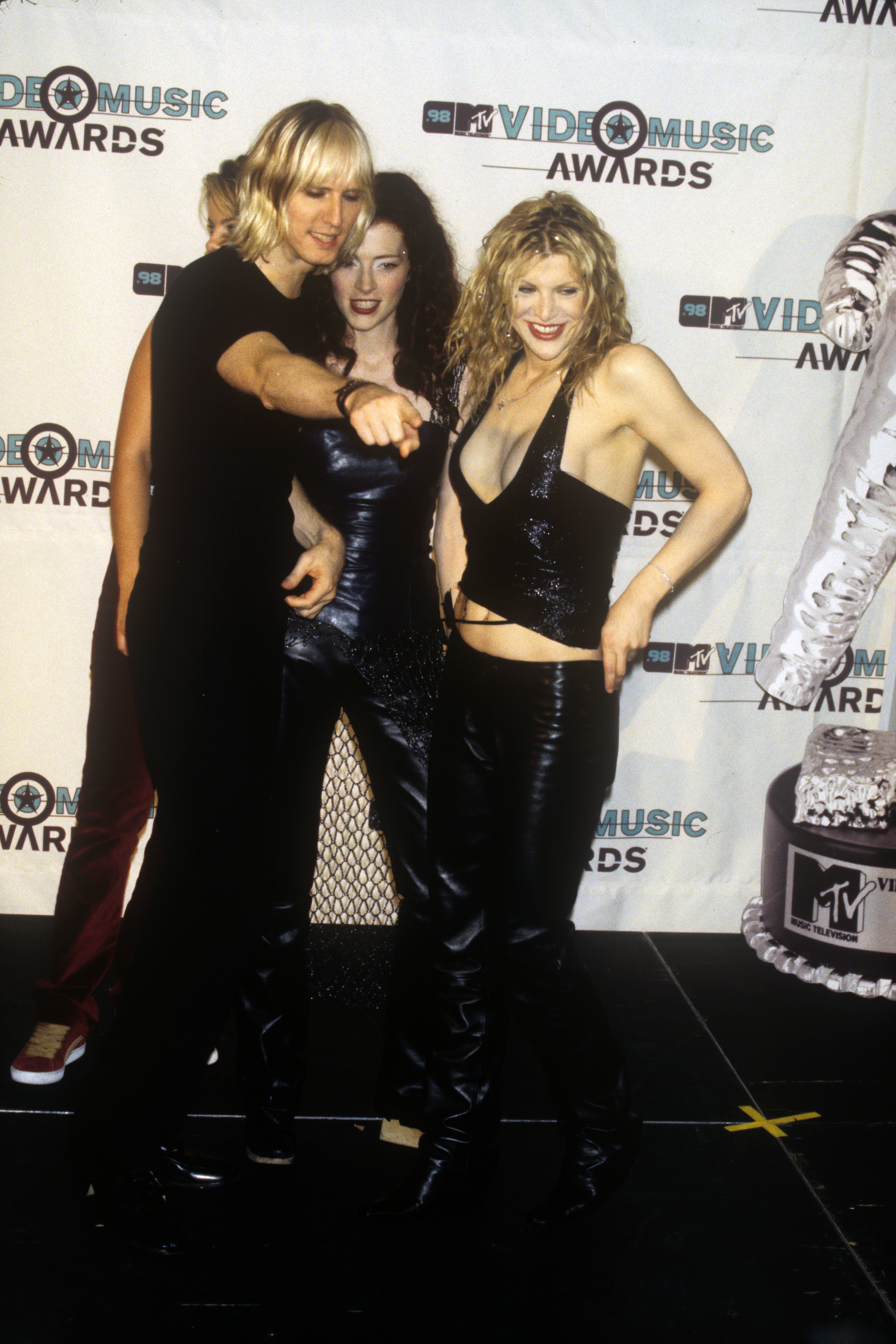 Courtney Love and her band Hole attending the MTV Video Music Awards at the Gibson Amphitheatre in Los Angeles on Sept. 10, 1998.