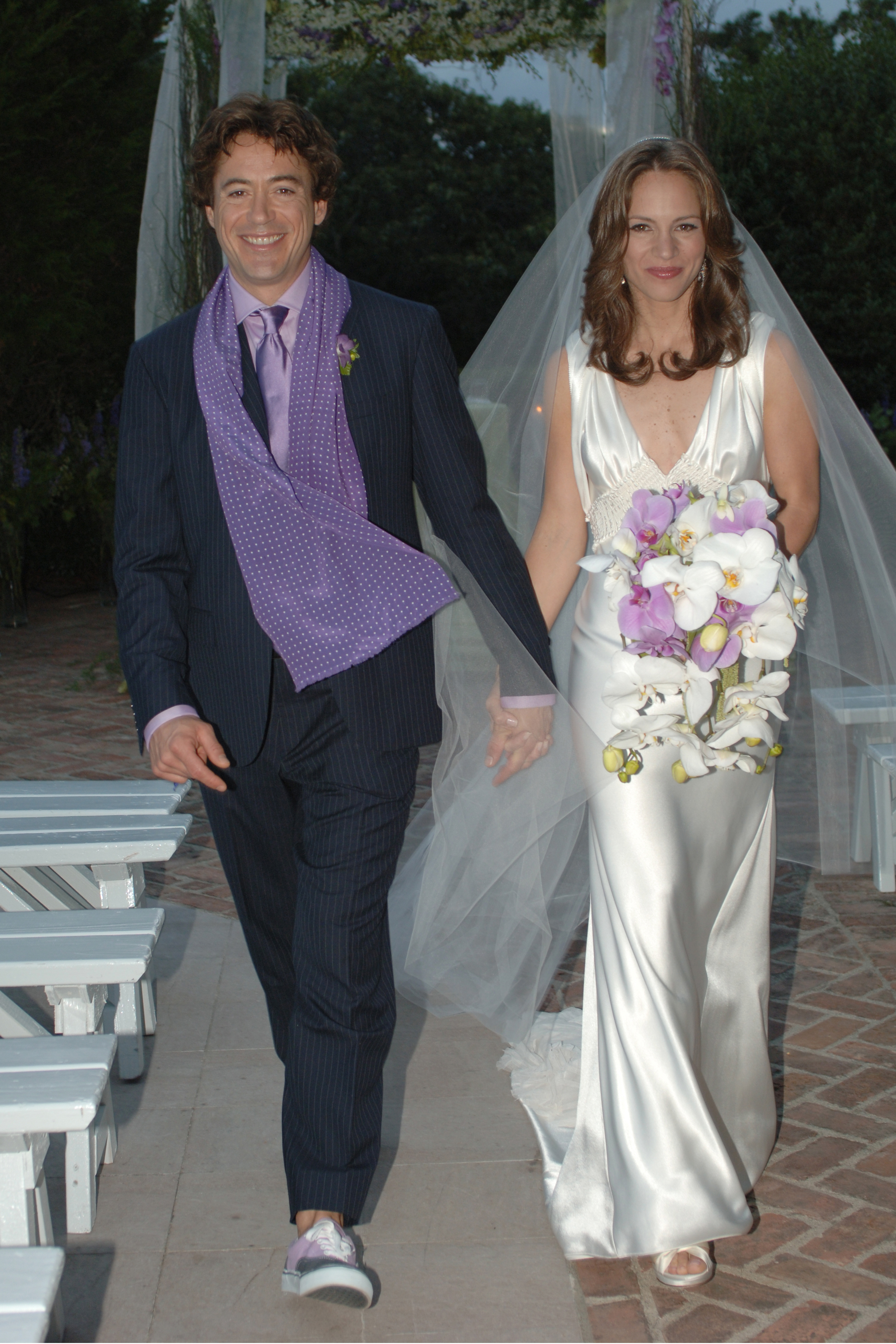 Robert Downey Jr. and Susan Levin are pictured at their wedding in  Amagansett, NY, in August 2005.