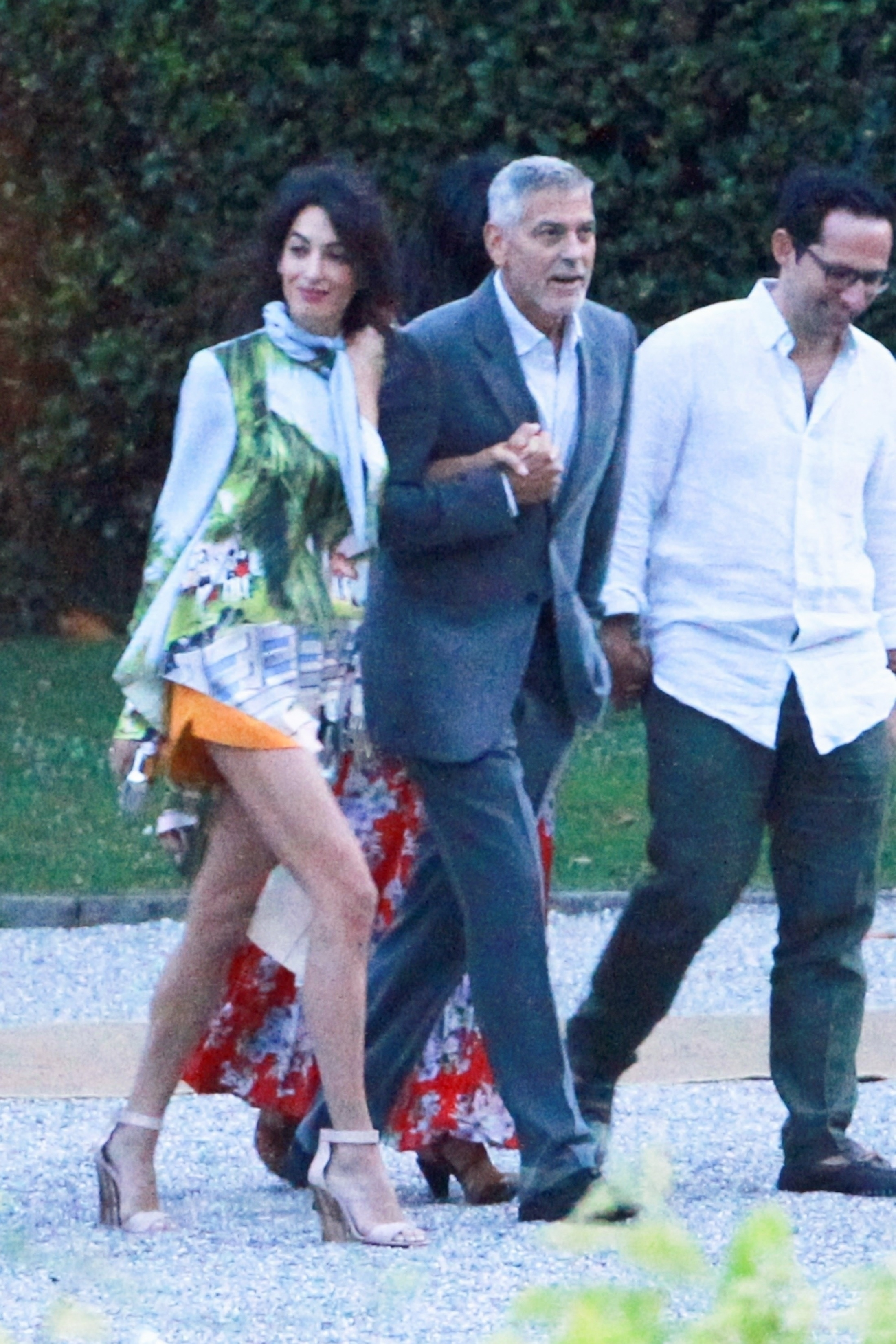 George Clooney and wife Amal Clooney spend the evening with friends at Villa D'Este restaurant in Lake Como, Italy, on July 28, 2018.