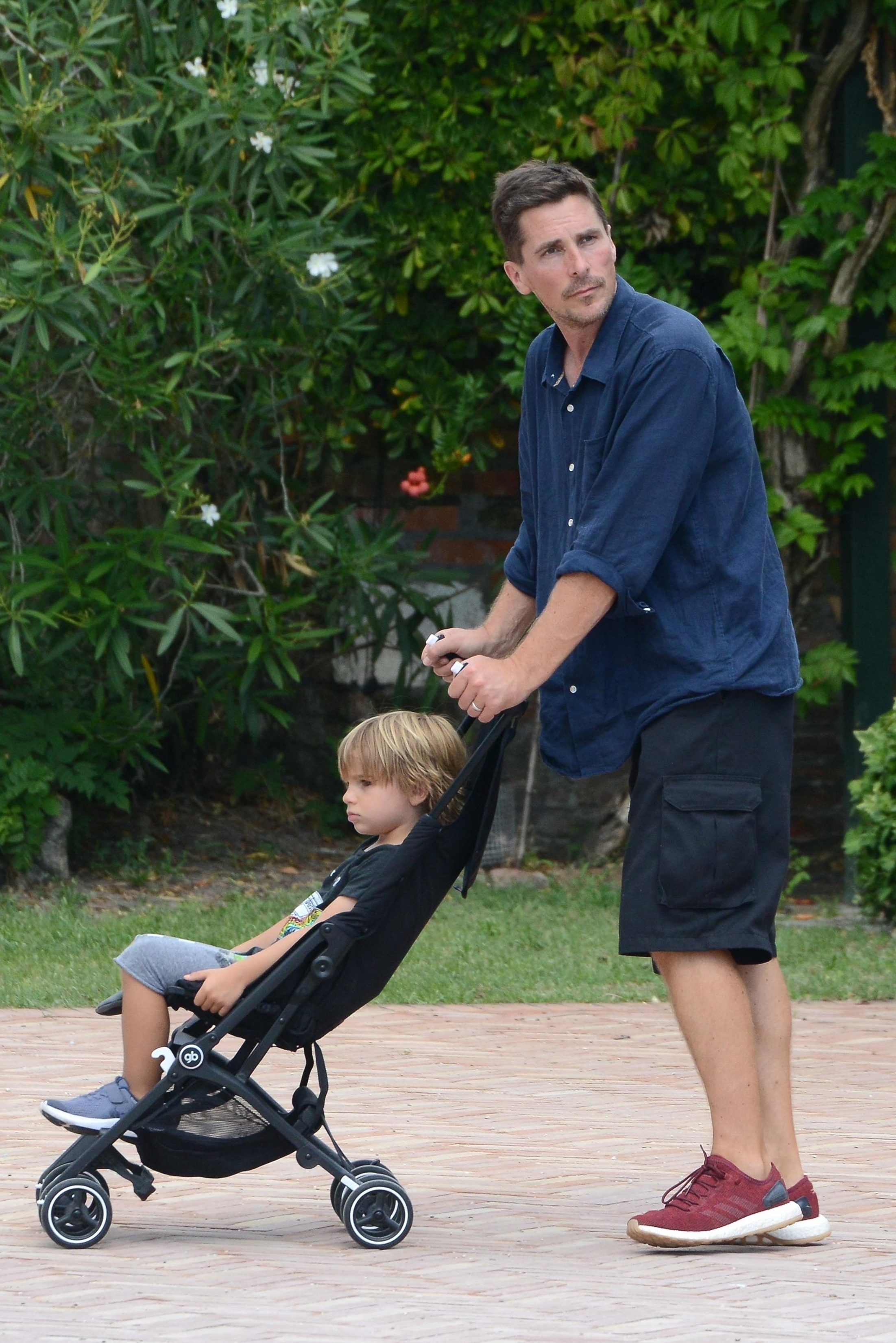 Christian Bale was seen enjoying a vacation with his son, Joseph, while in Torcello, Italy on July 20, 2018.