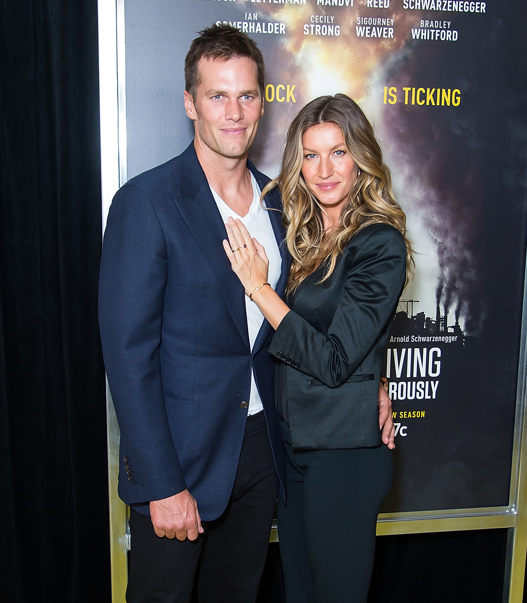 Tom Brady (L) and model Gisele Bundchen attend National Geographic's 'Years Of Living Dangerously' new season world premiere at American Museum of Natural History in New York City on September 21, 2016.