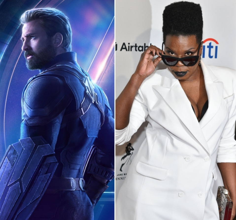 Chris Evans and Leslie Jones appear in a composite photo from 2018.
