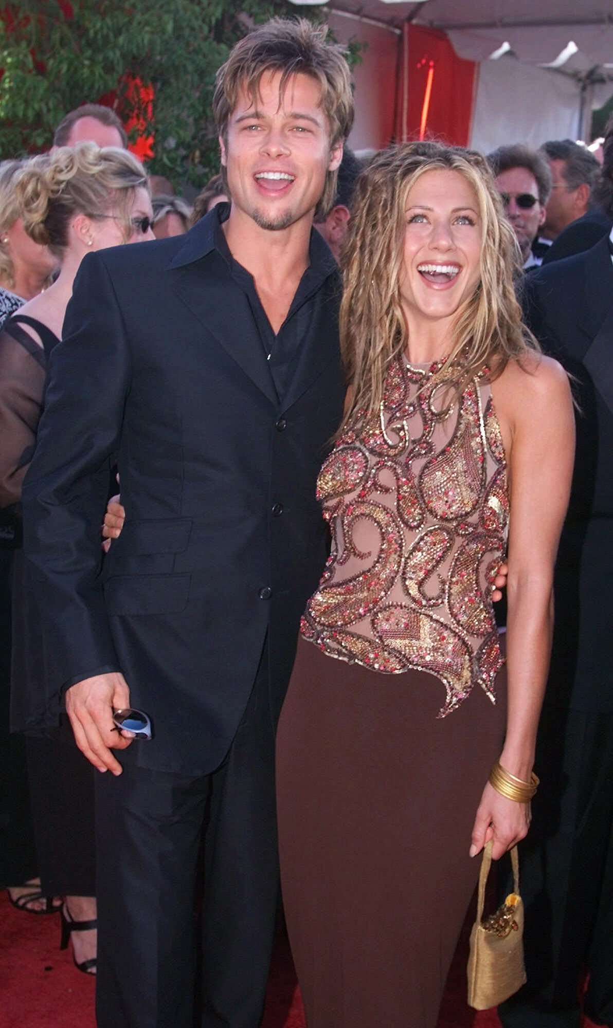 Brad Pitt and Jennifer Aniston arrive for the 51st Annual Primetime Emmy Awards at the Shrine Auditorium in Los Angeles on Sept. 12, 1999.