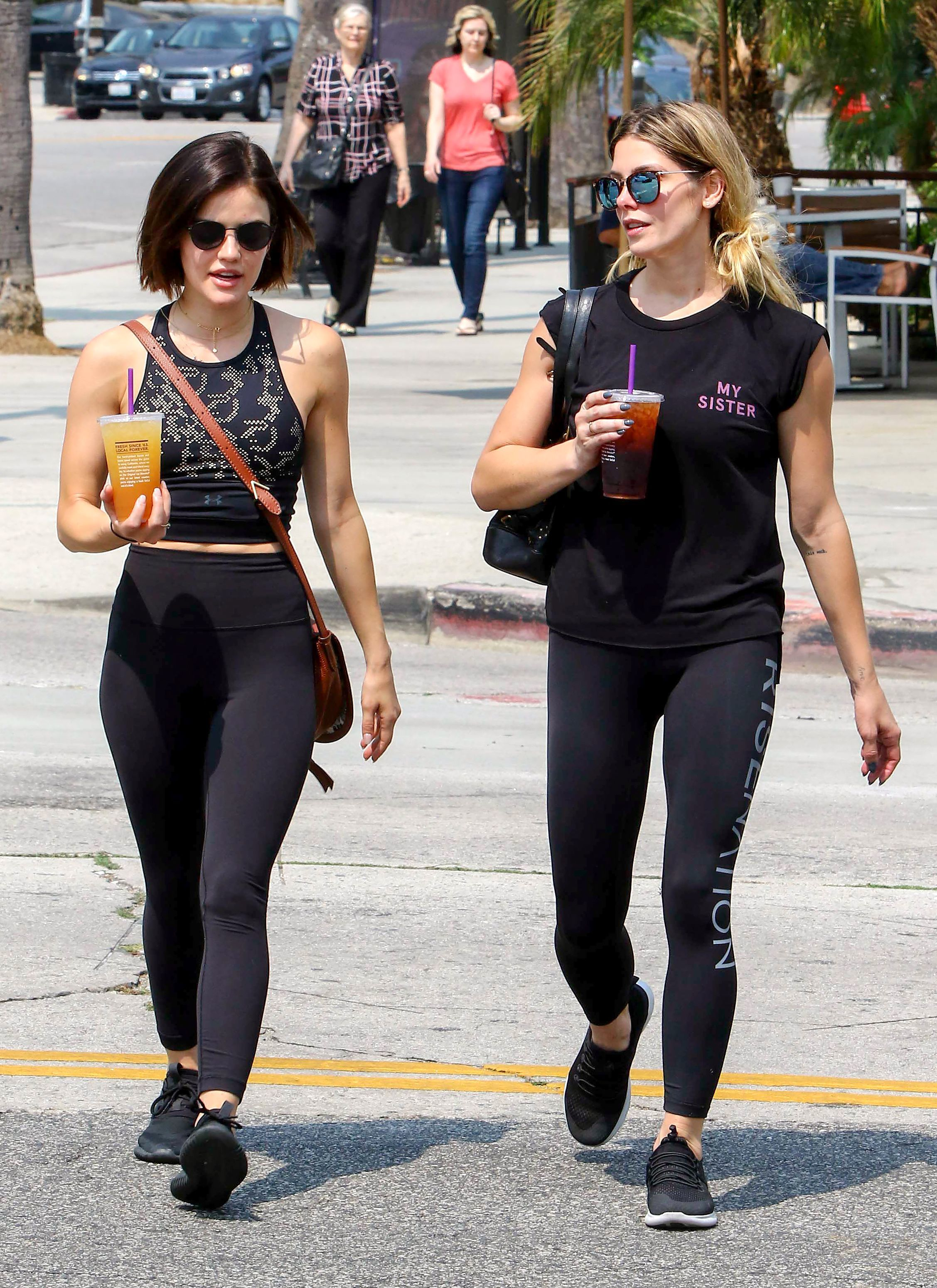 Lucy Hale and Ashley Greene step out in Los Angeles on Aug. 4, 2018.