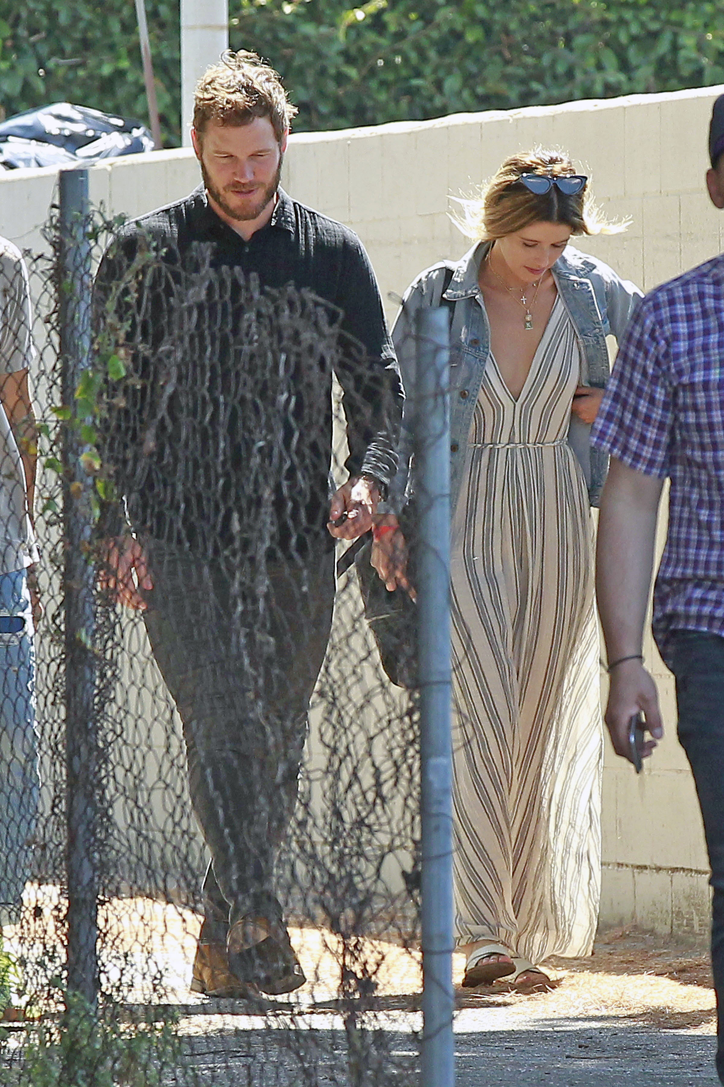 Chris Pratt and Katherine Schwarzenegger attend church services together in Los Angeles on Aug. 5, 2018.
