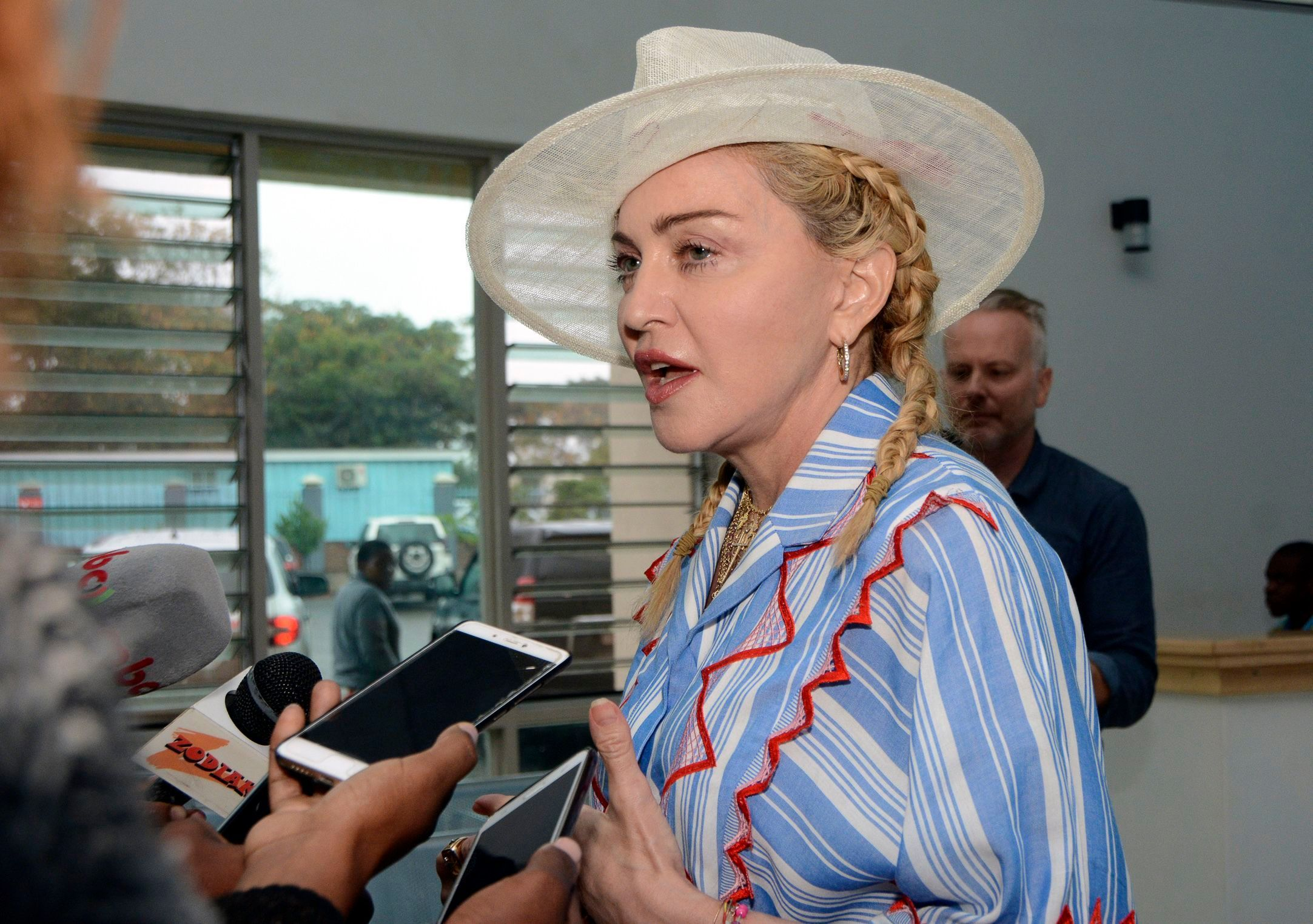 Madonna participates in a press conference in celebration of the first anniversary of the Mercy James Children's Hospital at Queen Elizabeth Central Hospital in Blantyre, Malawi, on July 16, 2018.