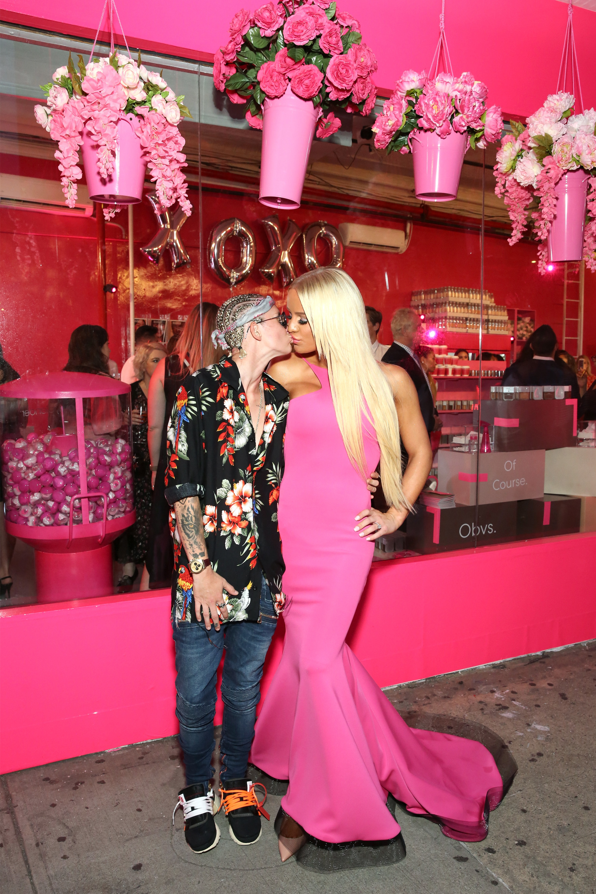 Oil heiress Nats Getty and fiancée Gigi Gorgeous got cutesy while attending an event in New York City on July 24, 2018.