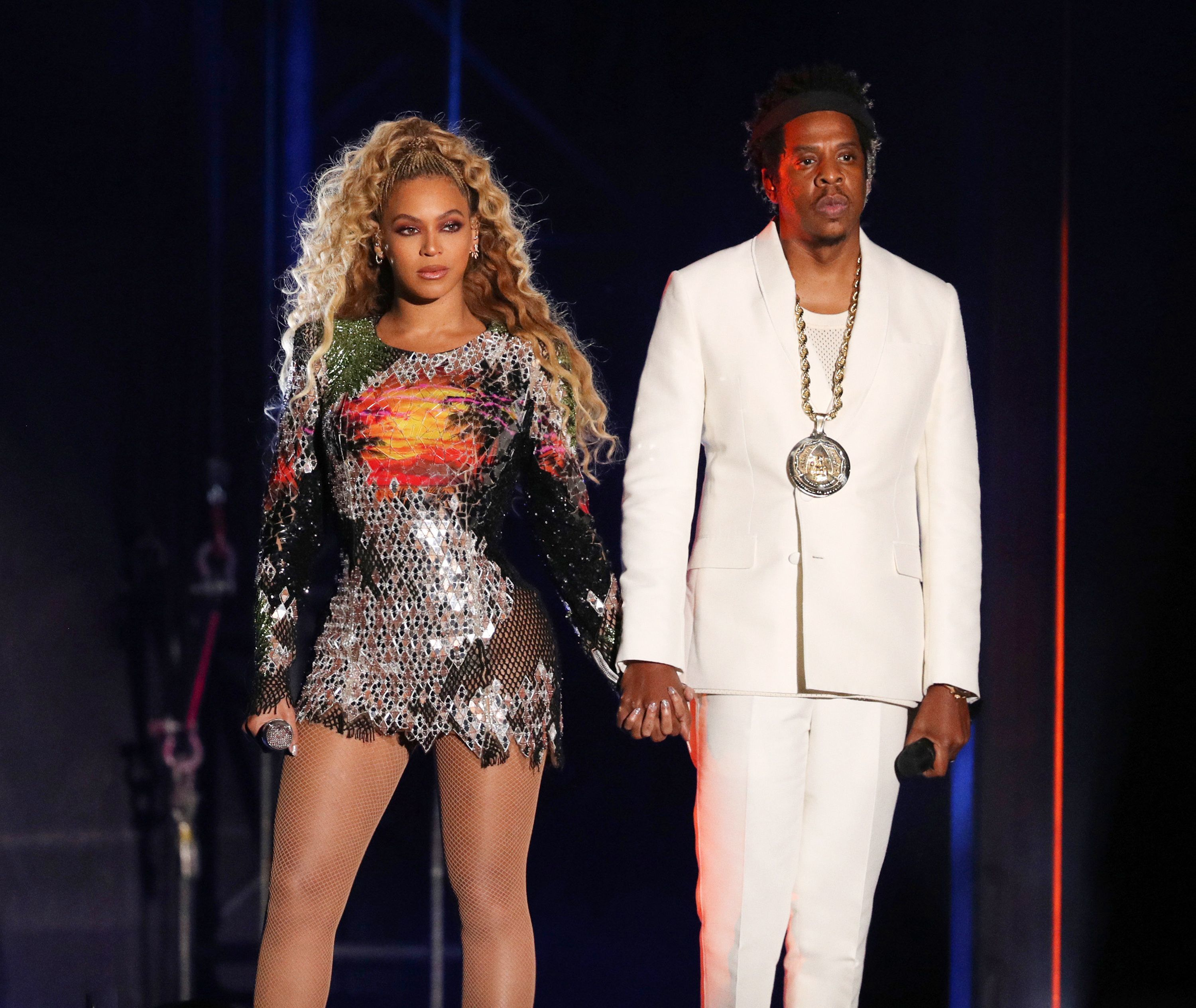 Beyonce and JAY Z perform in Detroit on Aug. 13, 2018.