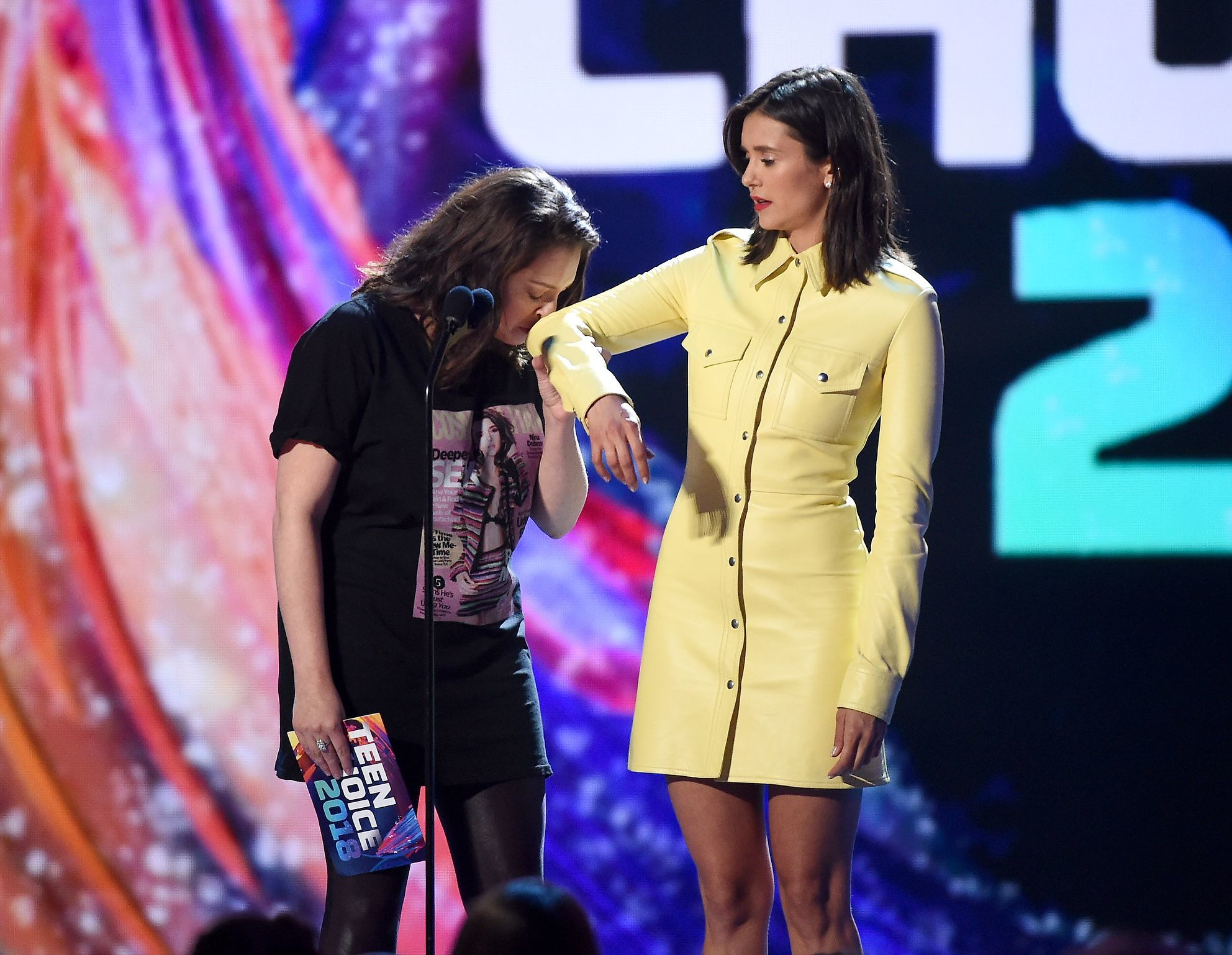 Rachel Bloom and Nina Dobrev appear on the Teen Choice Awards in Los Angeles on Aug. 12, 2018.