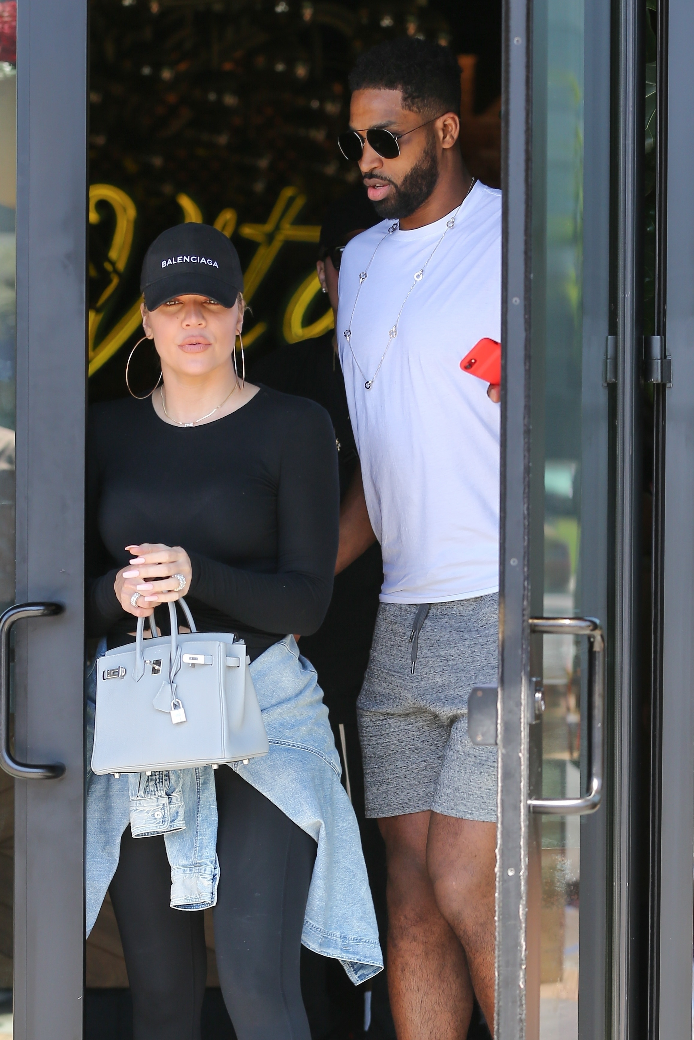Khloe Kardashian and Tristan Thompson leave Joey restaurant in Woodland Hills, California, on June 20, 2018.