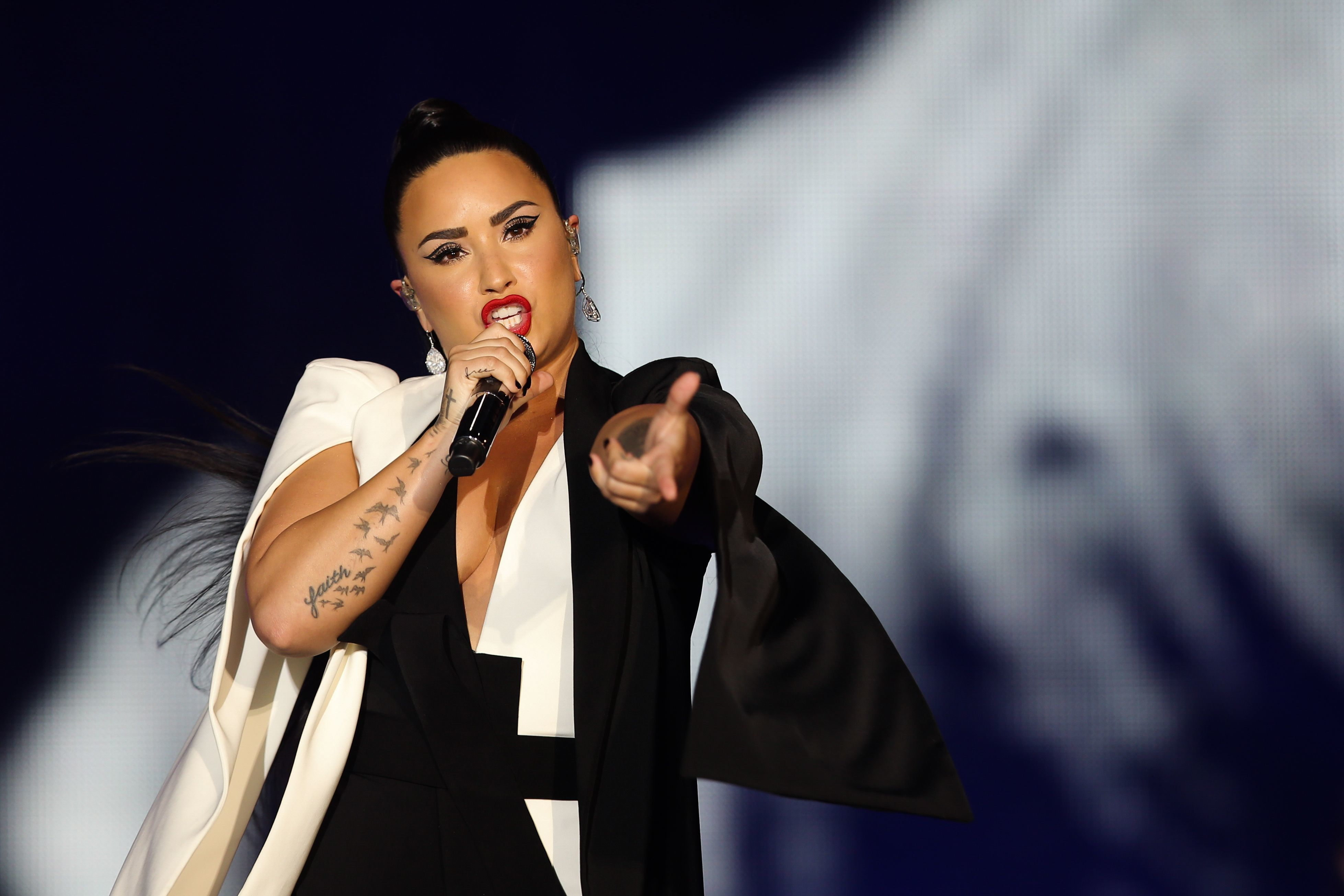 Demi Lovato performs at Rock in Rio Lisbon in Portugal on June 24, 2018.