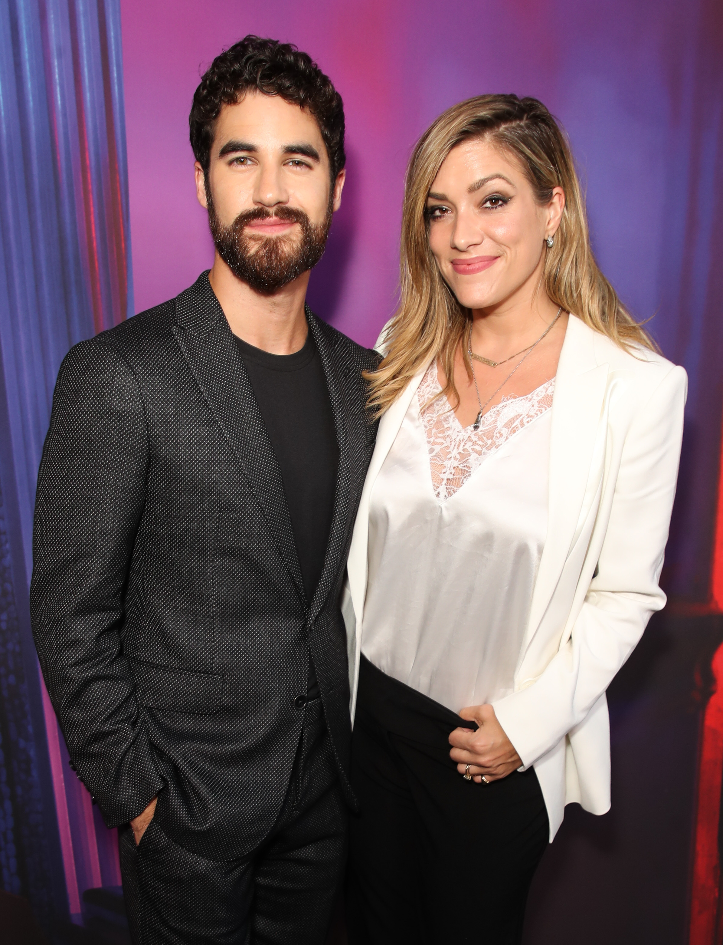 "Darren Criss and Mia Swier attend ""The Assassination of Gianni Versace: American Crime Story"" TV show FYC event in Los Angeles on Aug. 15, 2018."