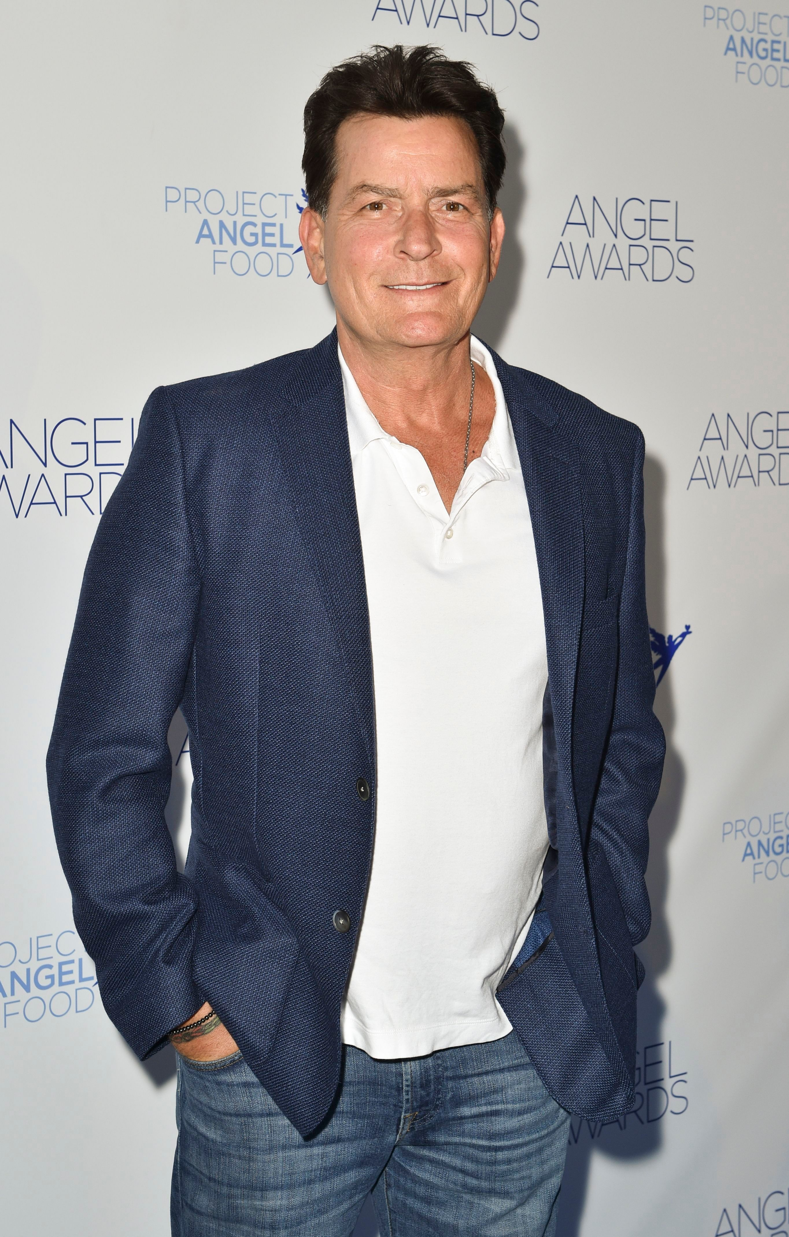Charlie Sheen attends the Project Angel Food honoring Debra Messing in Los Angeles on Aug. 18, 2018.