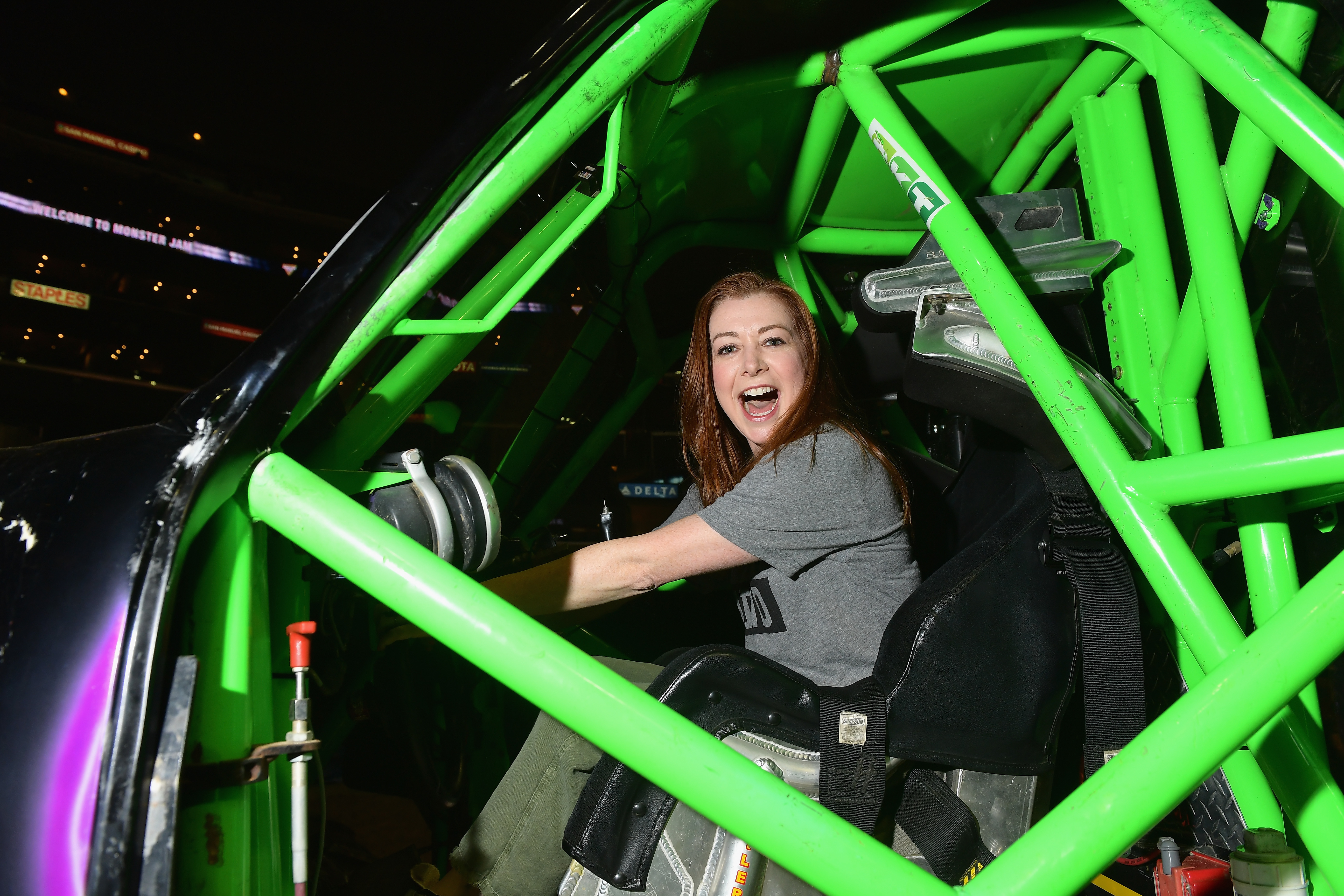 Alyson Hannigan attends Monster Jam at STAPLES Center in Los Angeles on August 18, 2018.
