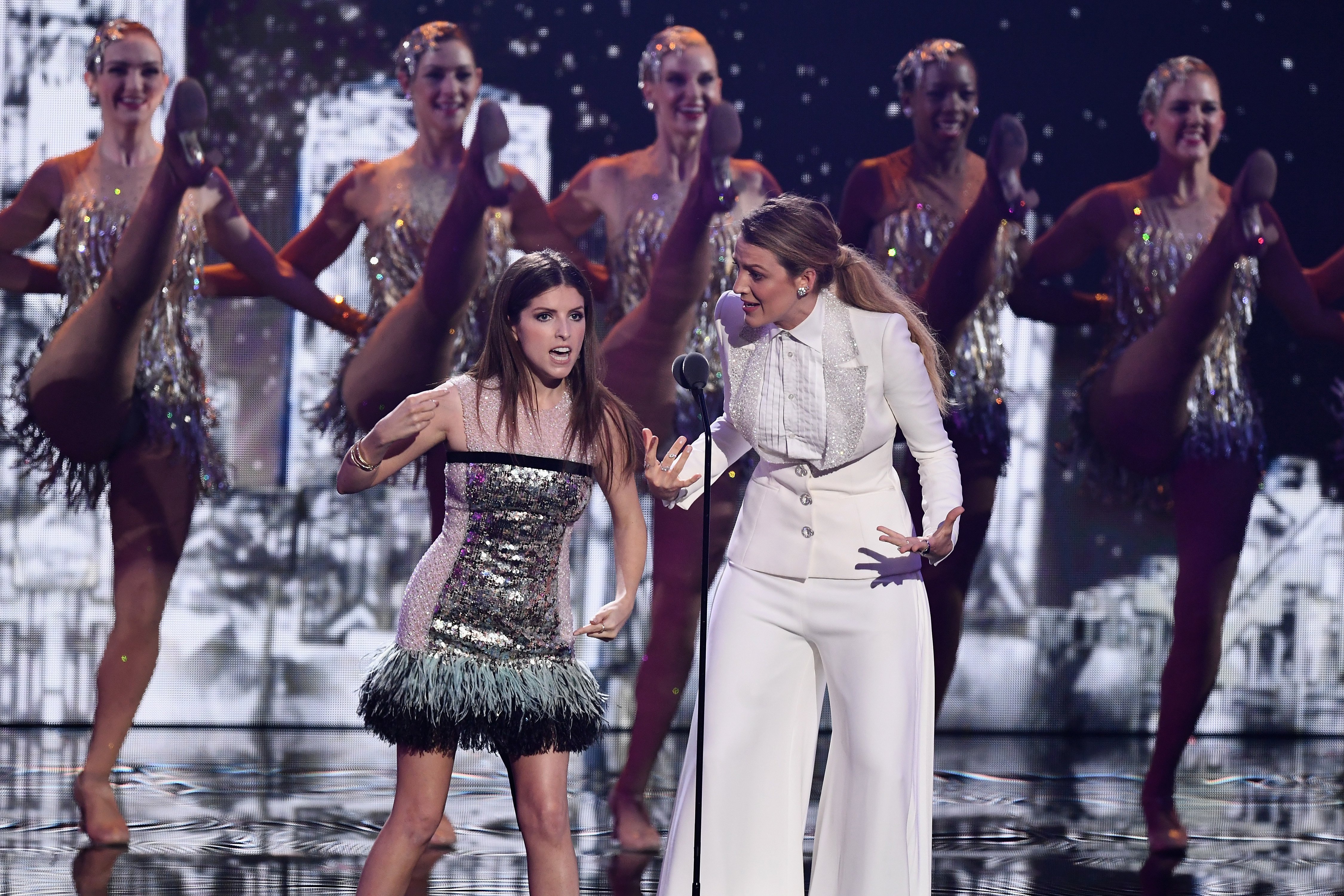 Anna Kendrick and Blake Lively present an award in front of The Rockettes during the MTV Video Music Awards at Radio City Music Hall in New York City on Aug. 20, 2018.