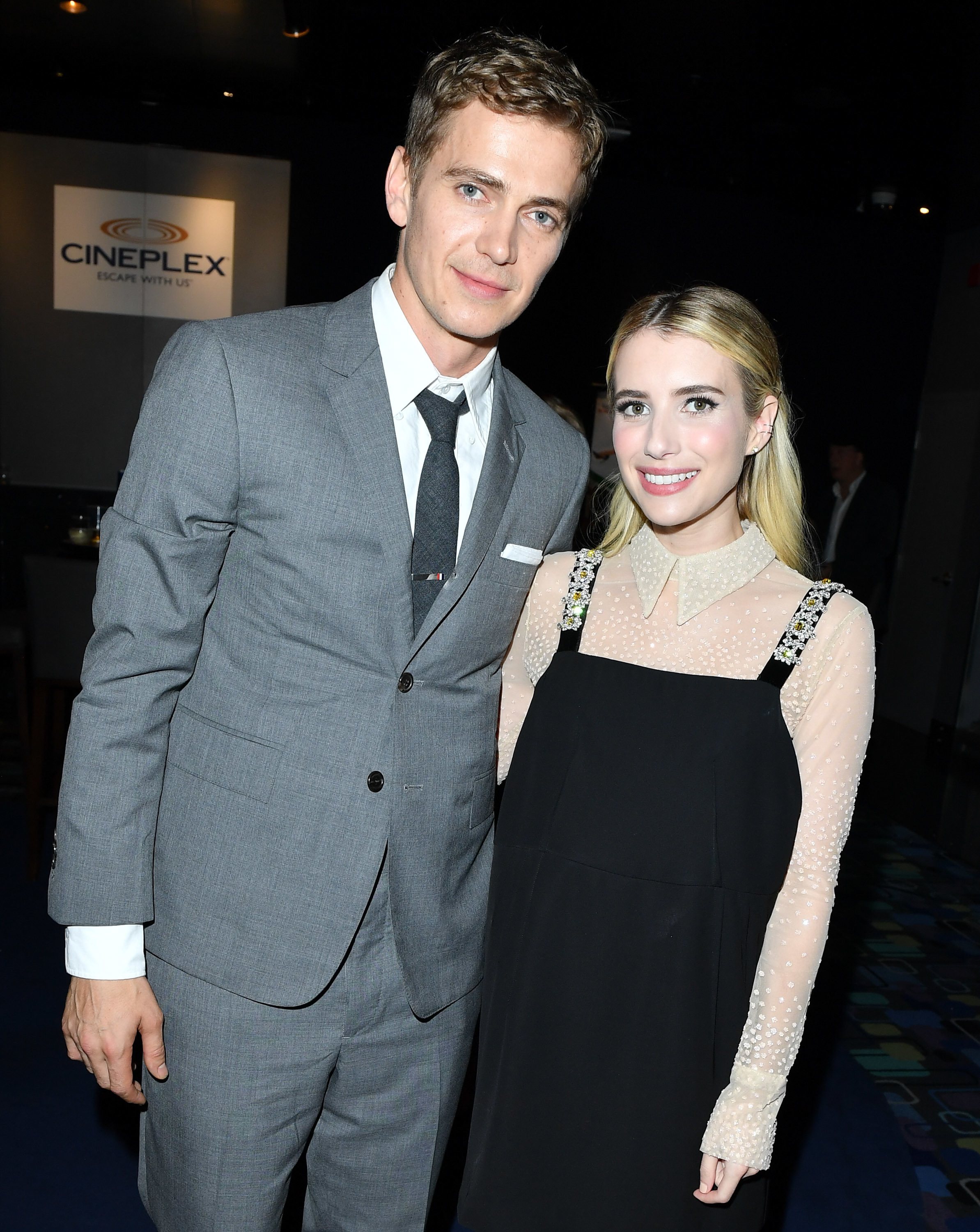 Hayden Christensen and Emma Roberts attend Little Italy World Premiere at Scotiabank Theatre in Toronto on Aug. 22, 2018.