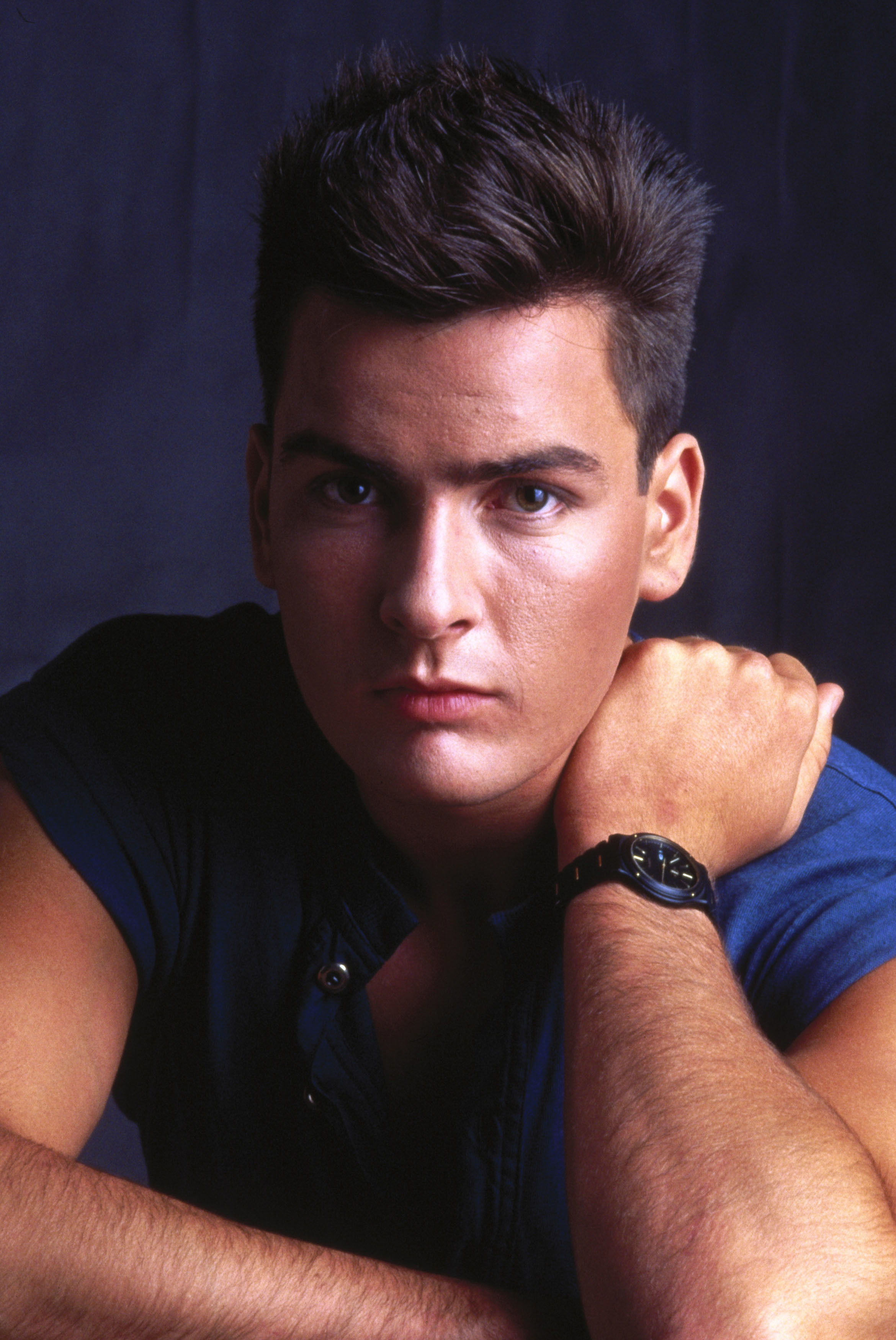 "Charlie Sheen appears in a promotional photo for 1984's ""Red Dawn."""