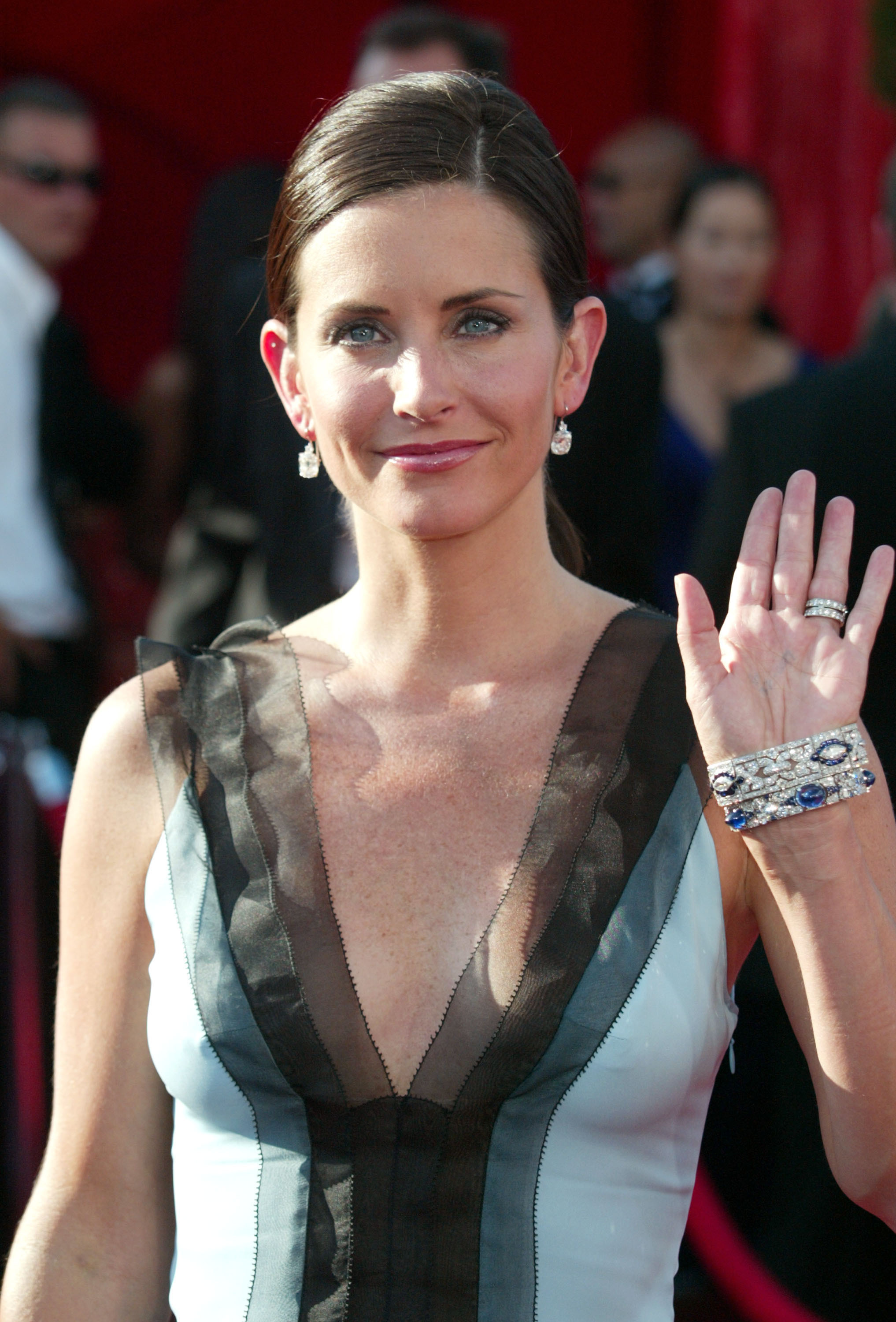 Courteney Cox attends the 55th Annual Primetime Emmy Awards at The Shrine Theater in Los Angeles on Sept. 21, 2003.