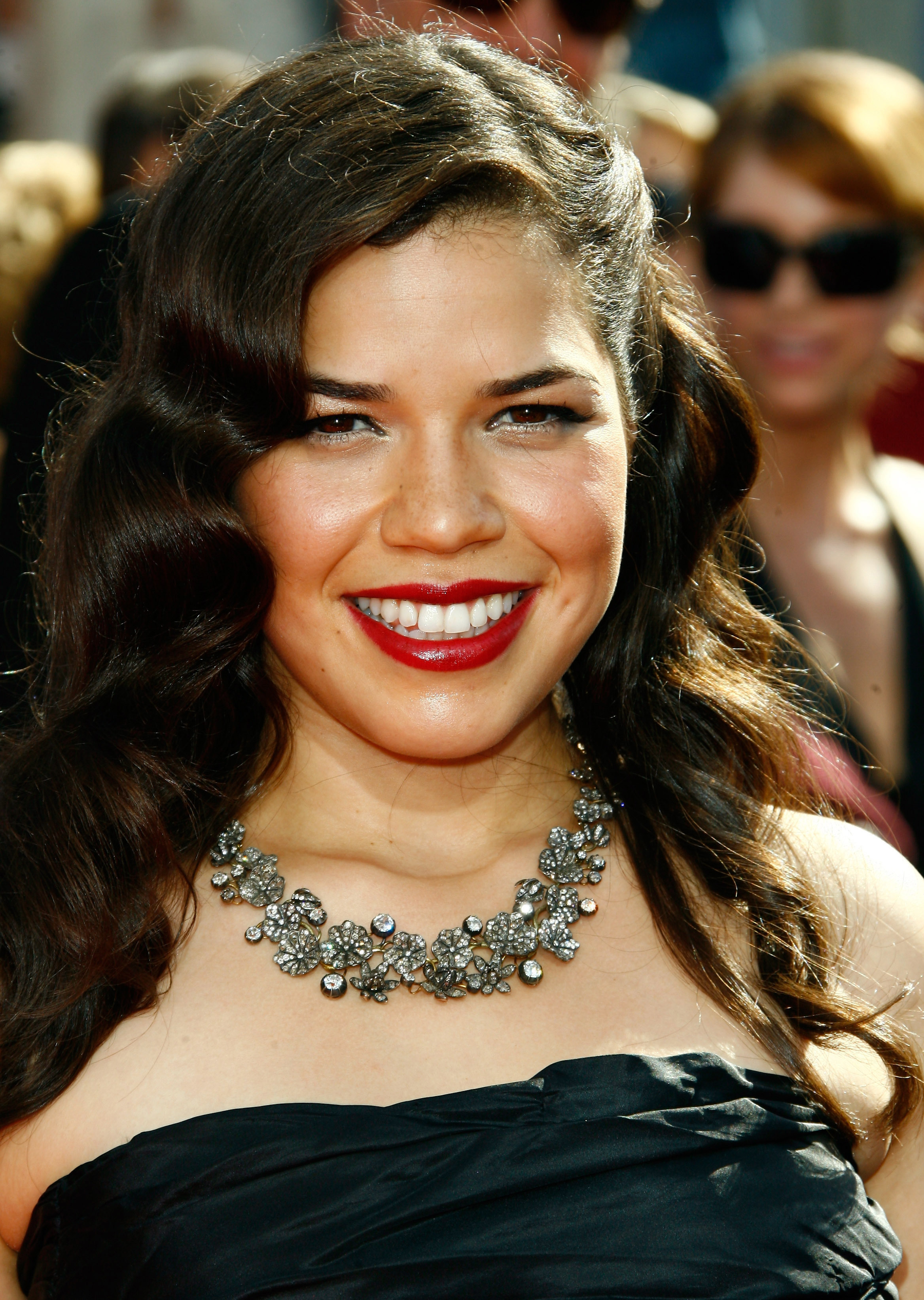 Actress America Ferrera arrives at the 60th Primetime Emmy Awards at the Nokia Theater in Los Angeles on Sept. 21, 2008.