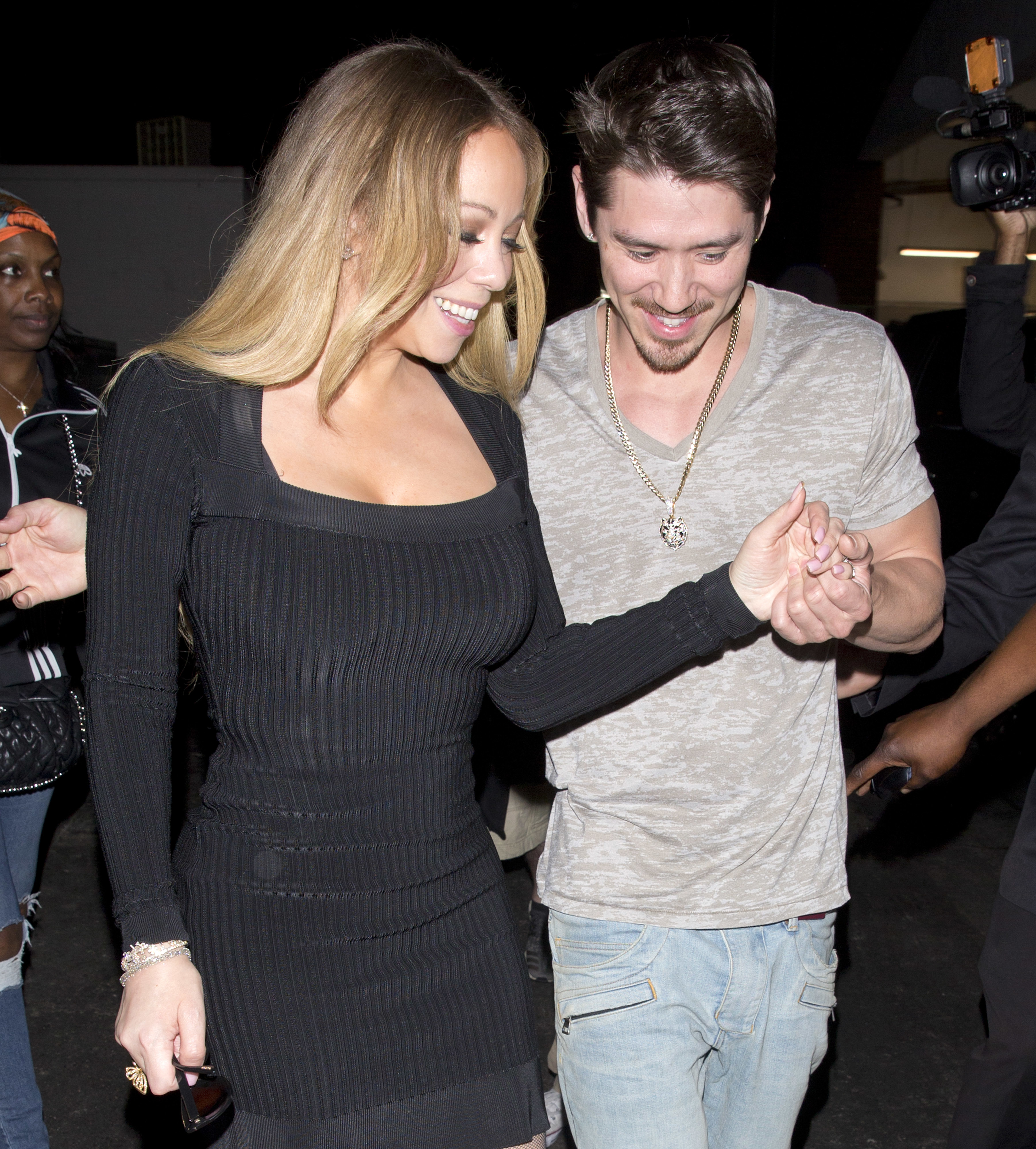 Mariah Carey and beau Bryan Tanaka are seen holding hands on date night at Mastro's Steakhouse in Beverly Hills, Calif., on April 24, 2018.