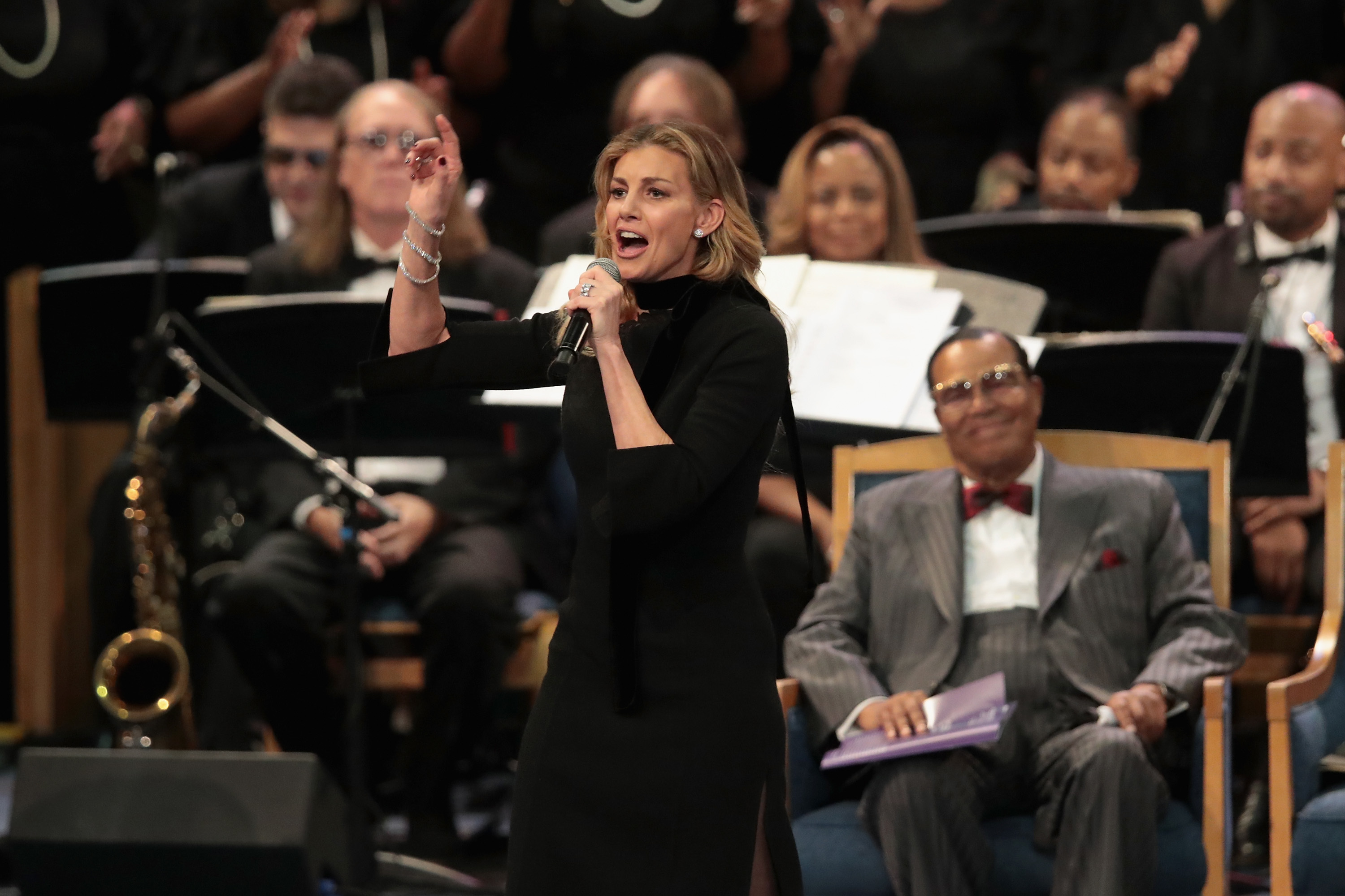Faith Hill performs during Aretha Franklin's funeral in Detroit on Aug. 31, 2018.