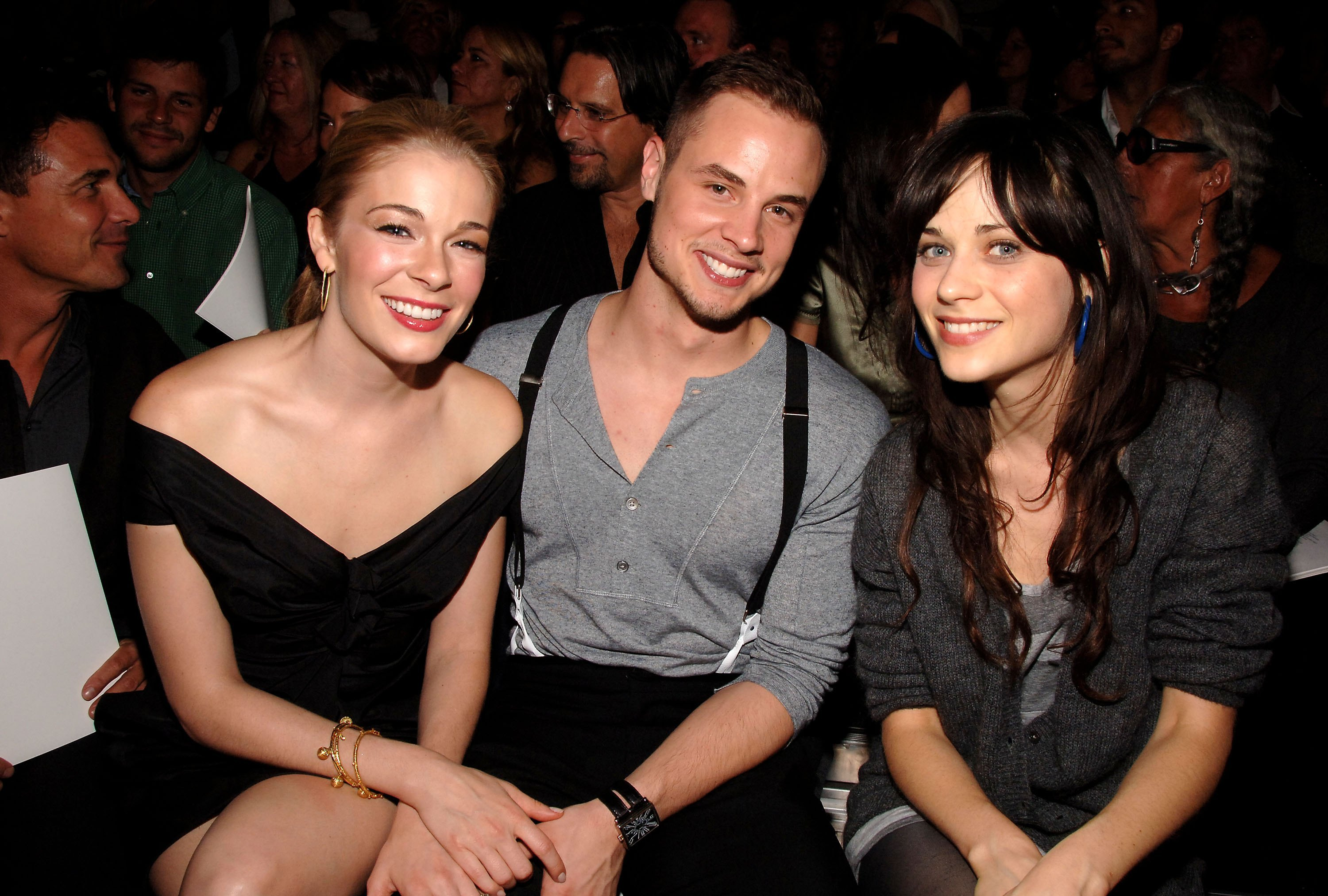 Leann Rimes, Dean Sheremet and Zooey Deschanel attend the Marc Jacobs Spring 2007 fashion show during Olympus Fashion Week at the N.Y. State Armory in New York City on Sept. 11, 2006.