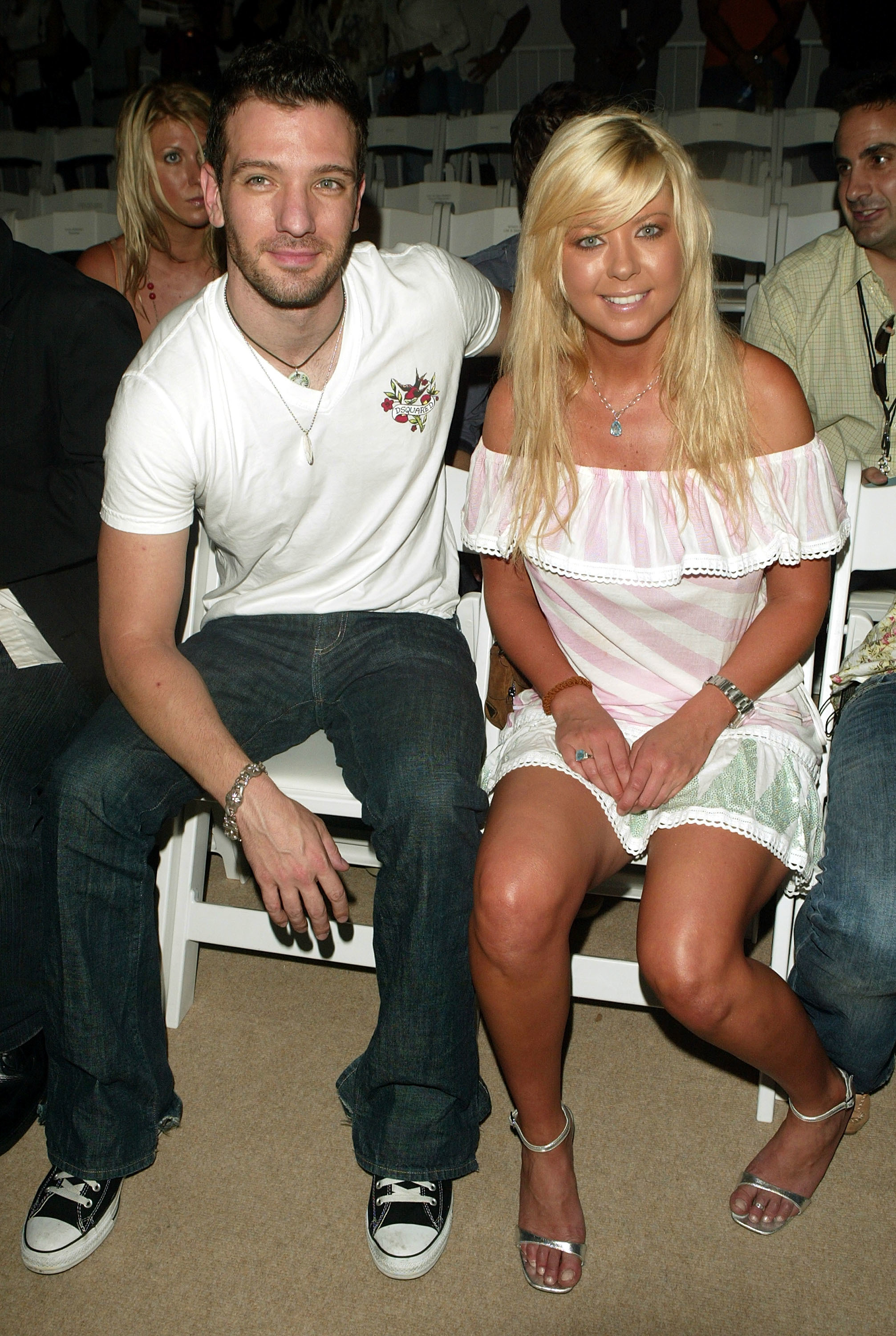 JC Chasez and Tara Reid attend the Custo Barcelona Spring 2006 fashion show during Olympus Fashion Week in New York City on Sept. 15, 2005.